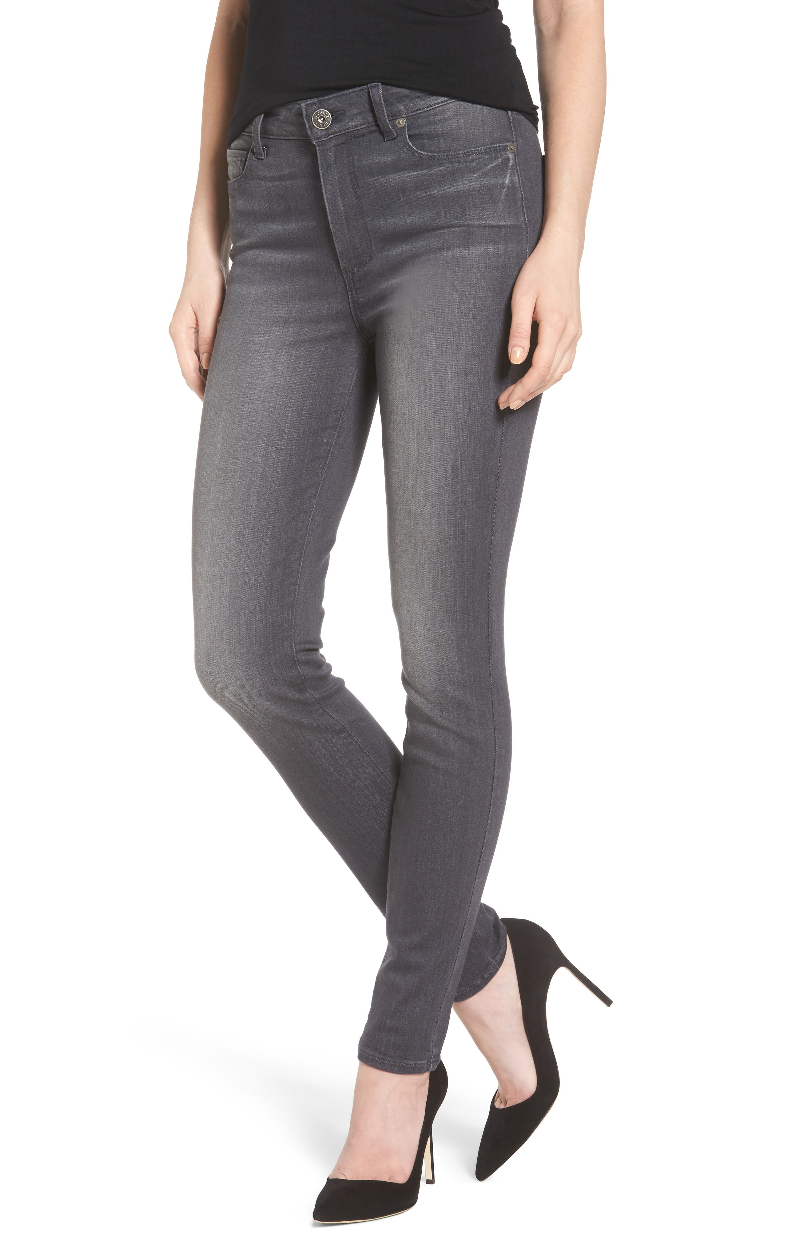 Alternate Image 1 Selected - PAIGE Transcend - Hoxton High Waist Ultra Skinny Jeans (Summit Grey)