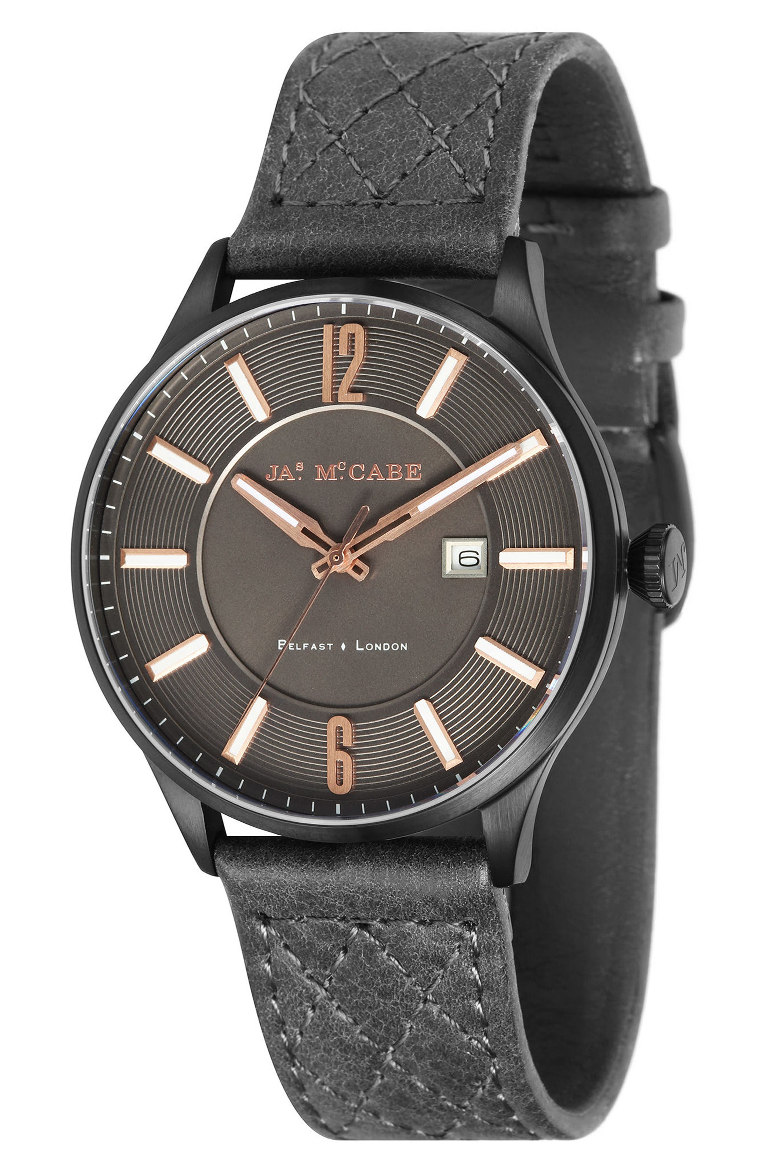 London Slim Leather Strap Watch, 43mm,                         Main,                         color, Rose Gold/ Black