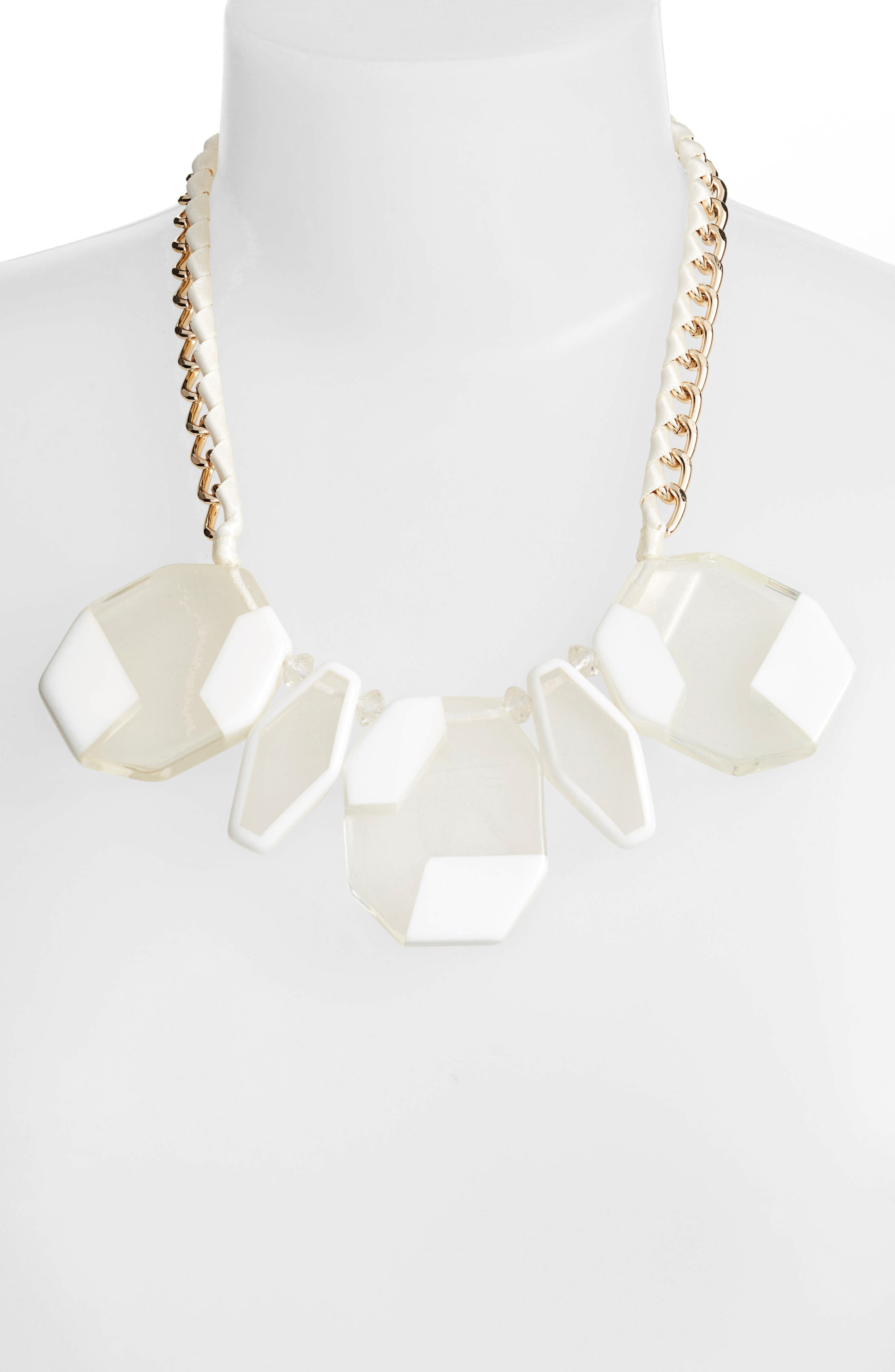 Resin Statement Necklace,                             Alternate thumbnail 2, color,                             White/ Clear