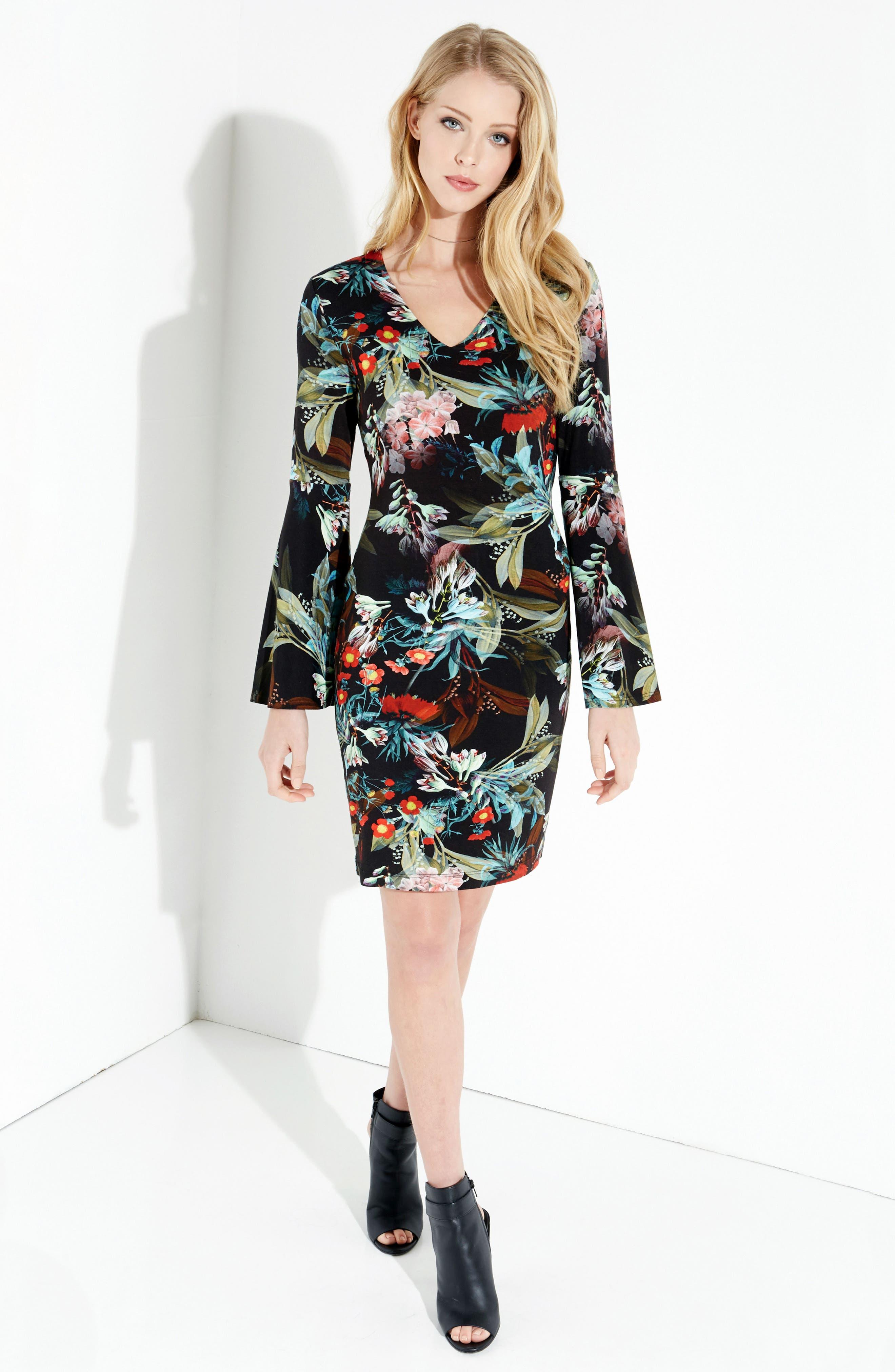 Alternate Image 3  - Karen Kane Bell Sleeve V-Neck Dress