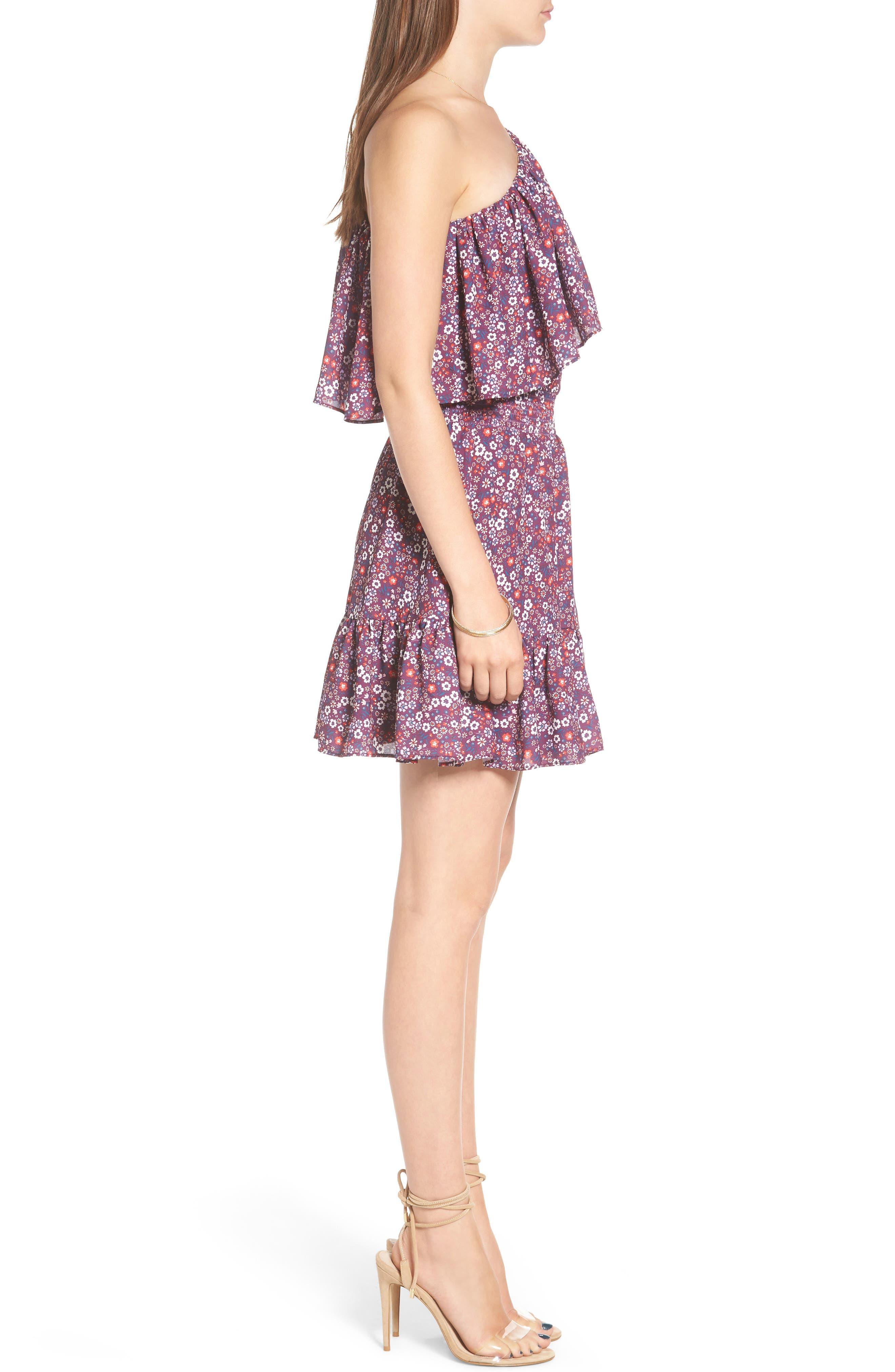 Irina One-Shoulder Blouson Dress,                             Alternate thumbnail 3, color,                             Magnolia
