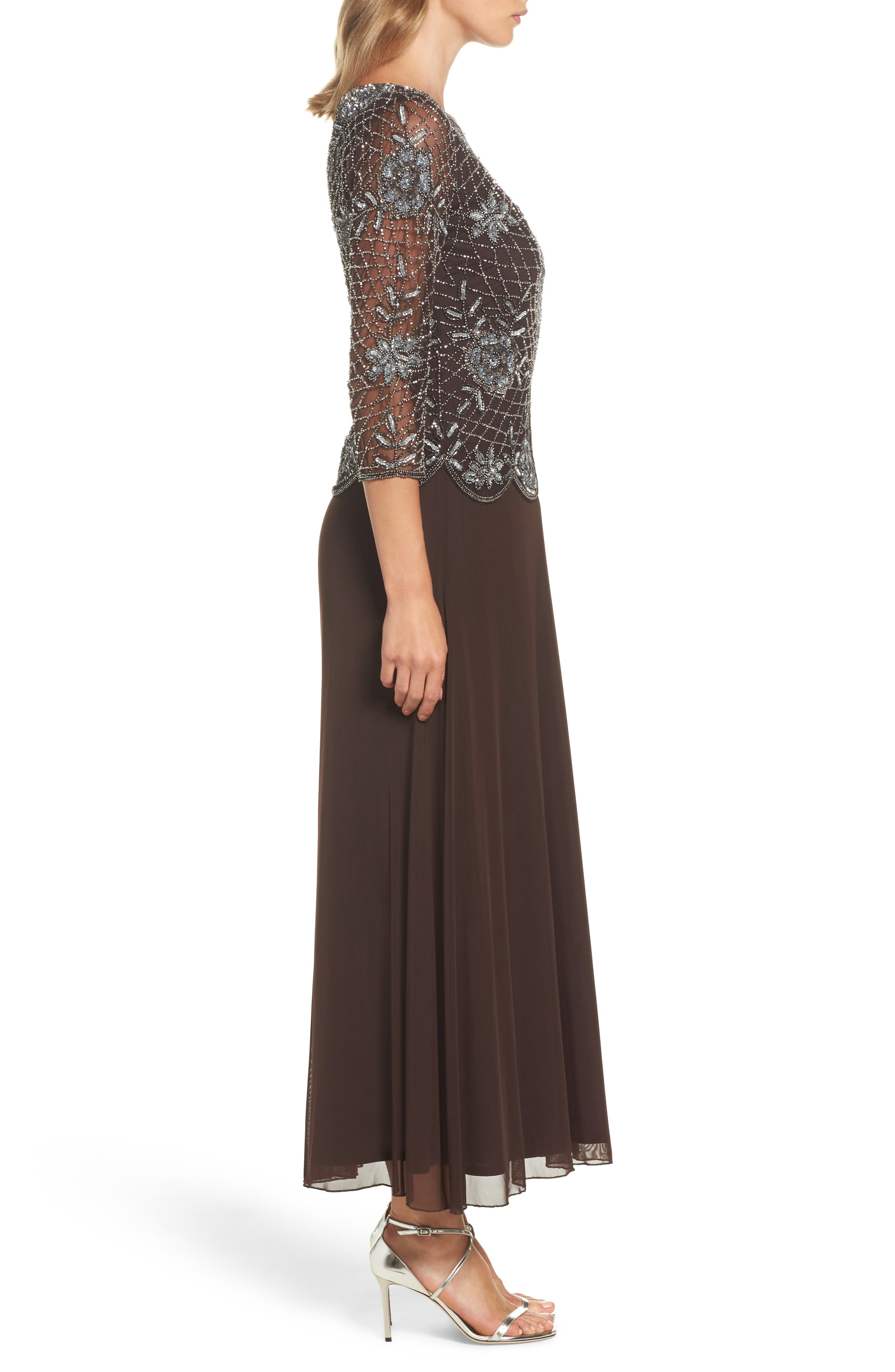 Embellished Mesh Gown,                             Alternate thumbnail 3, color,                             Chocolate