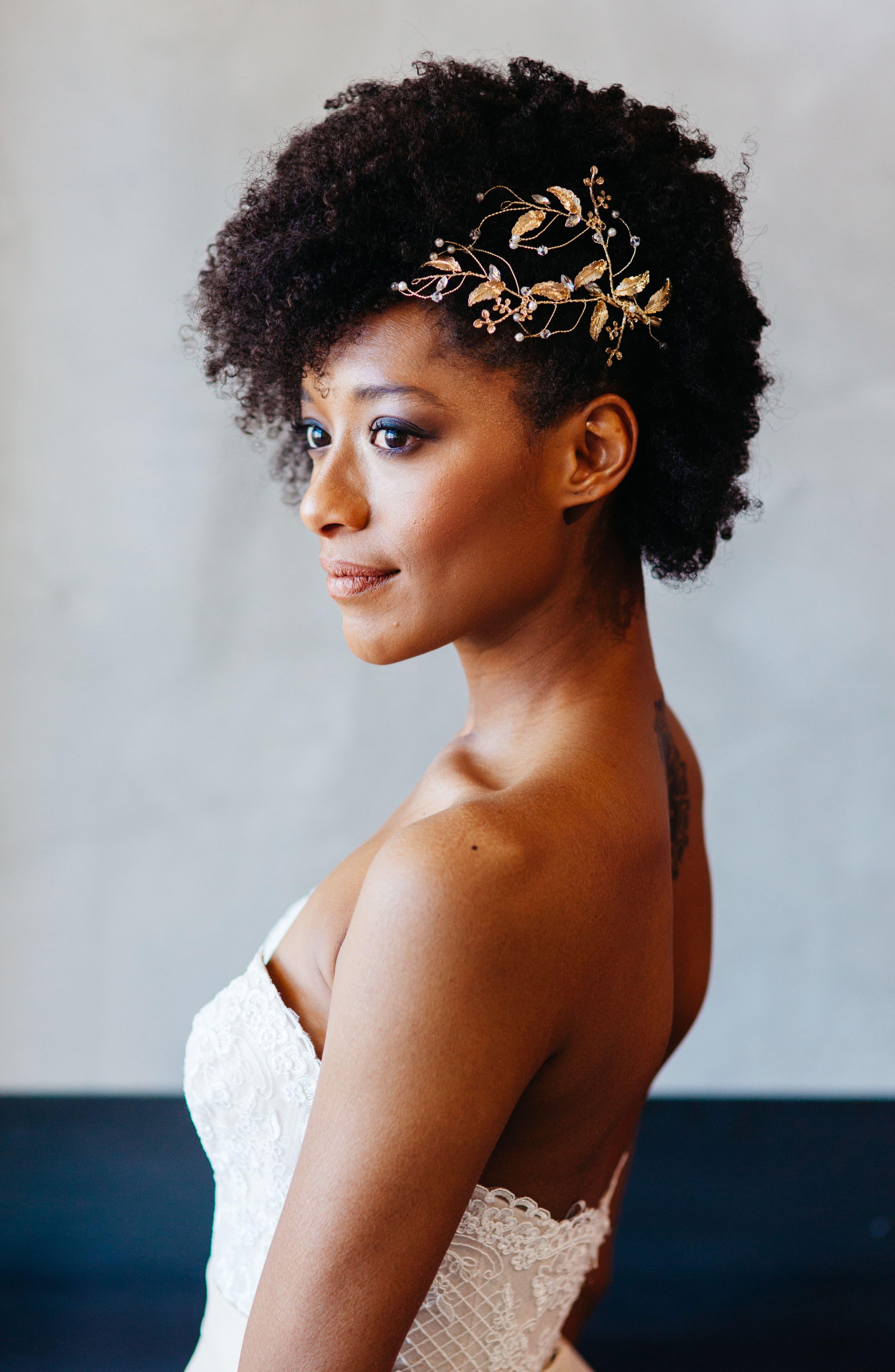 Crystal & Imitation Pearl Hair Comb,                         Main,                         color, Gold