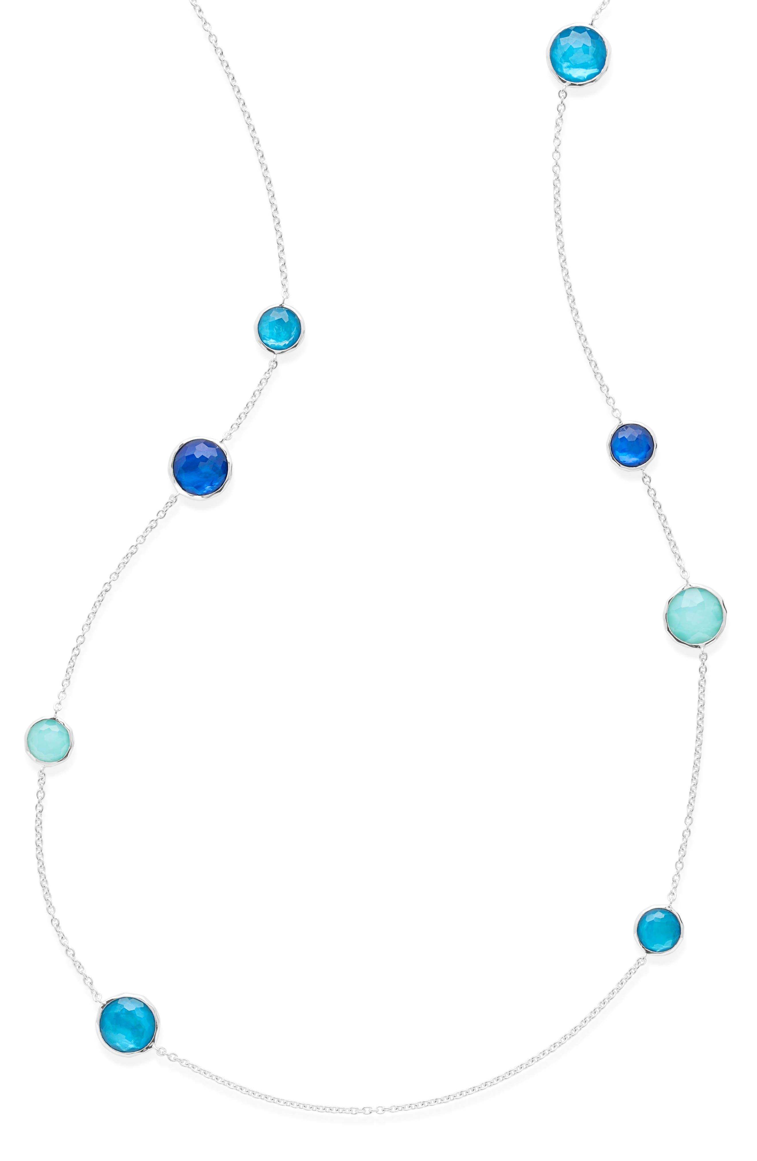Wonderland Station Necklace,                             Alternate thumbnail 3, color,                             Blue