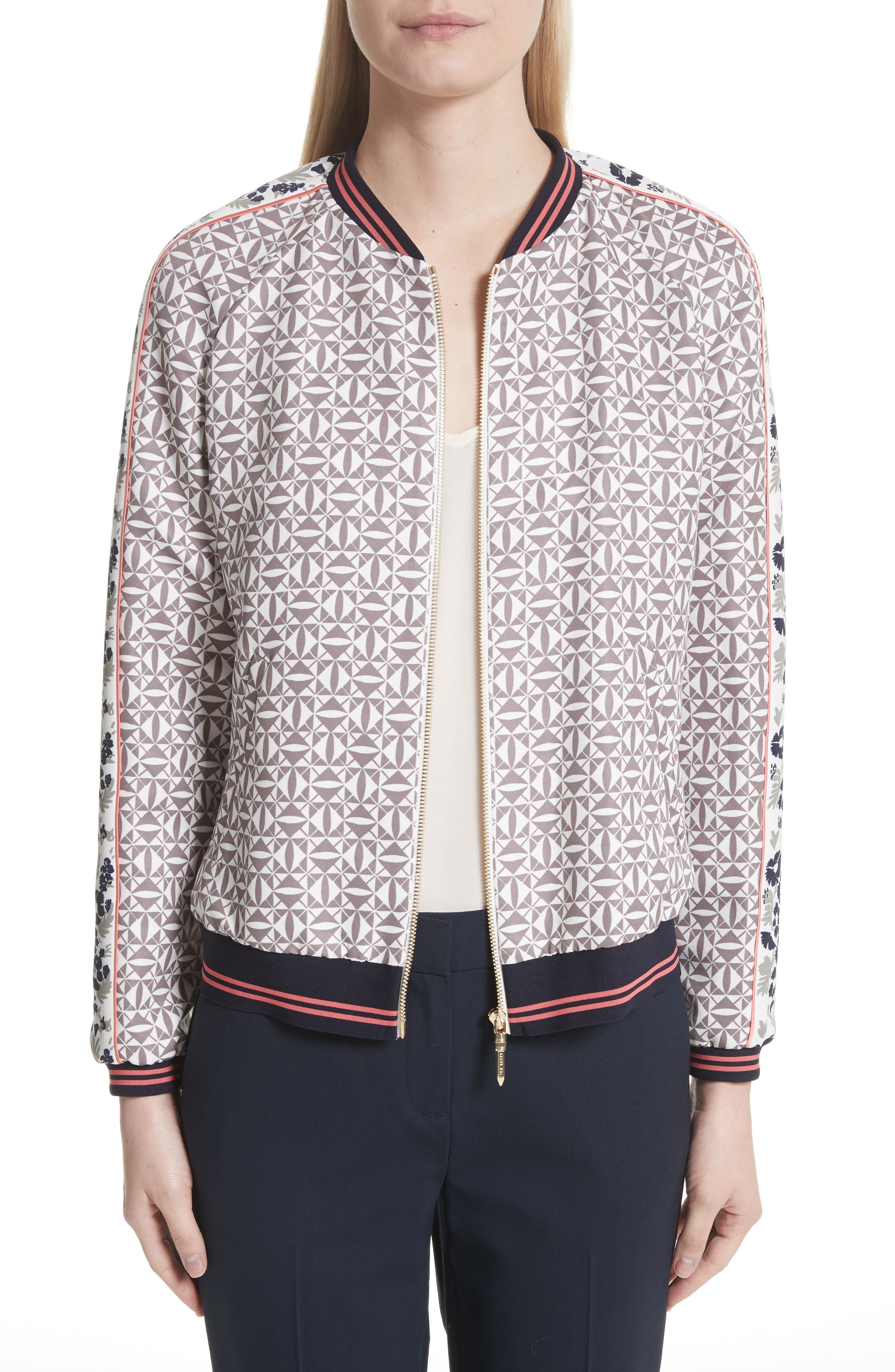 Xaria Geo Print Bomber Jacket,                         Main,                         color, Grey
