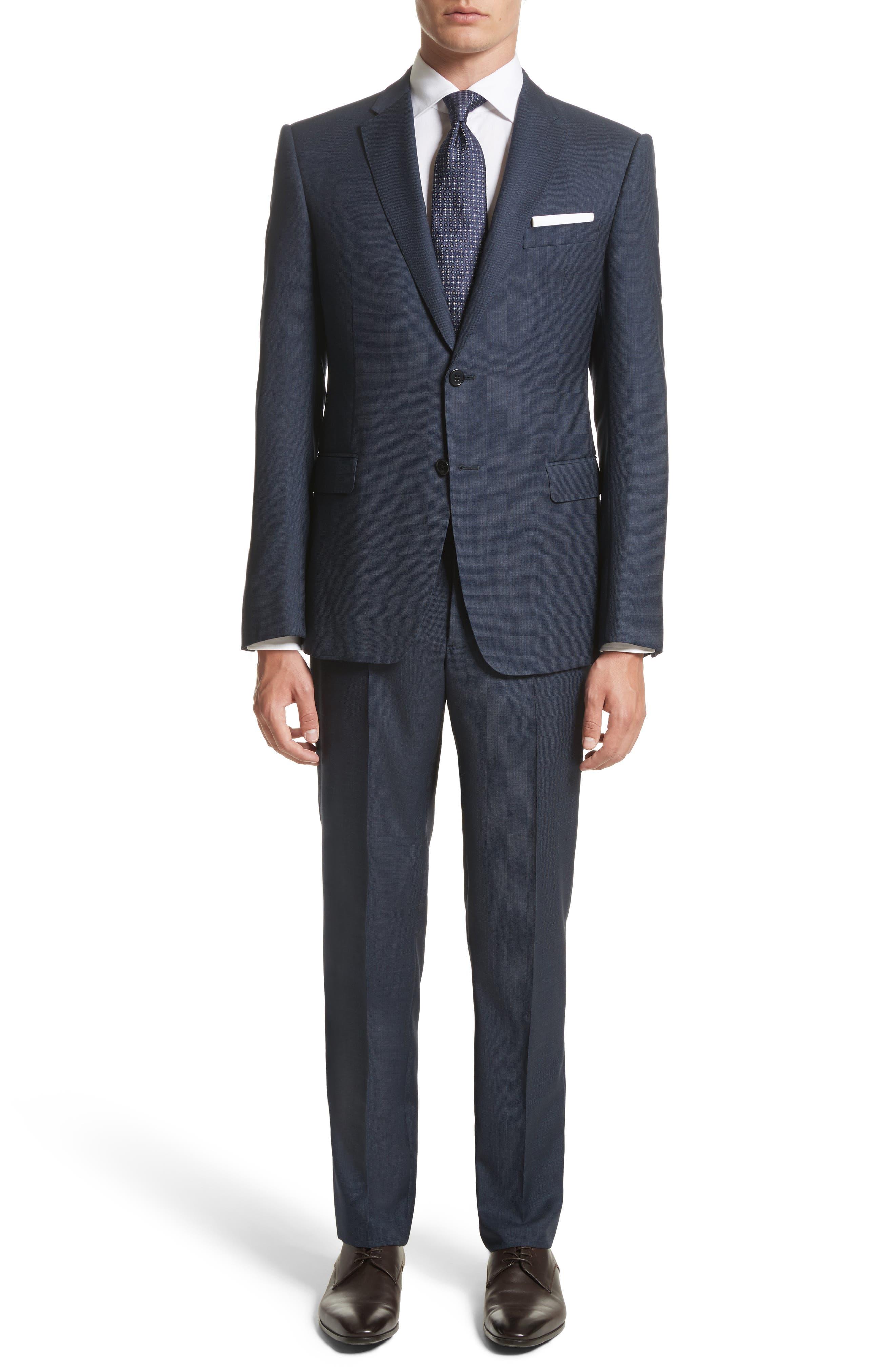 Emporio Armani M-Line Trim Fit Solid Wool Suit,                         Main,                         color, Prussian Blue
