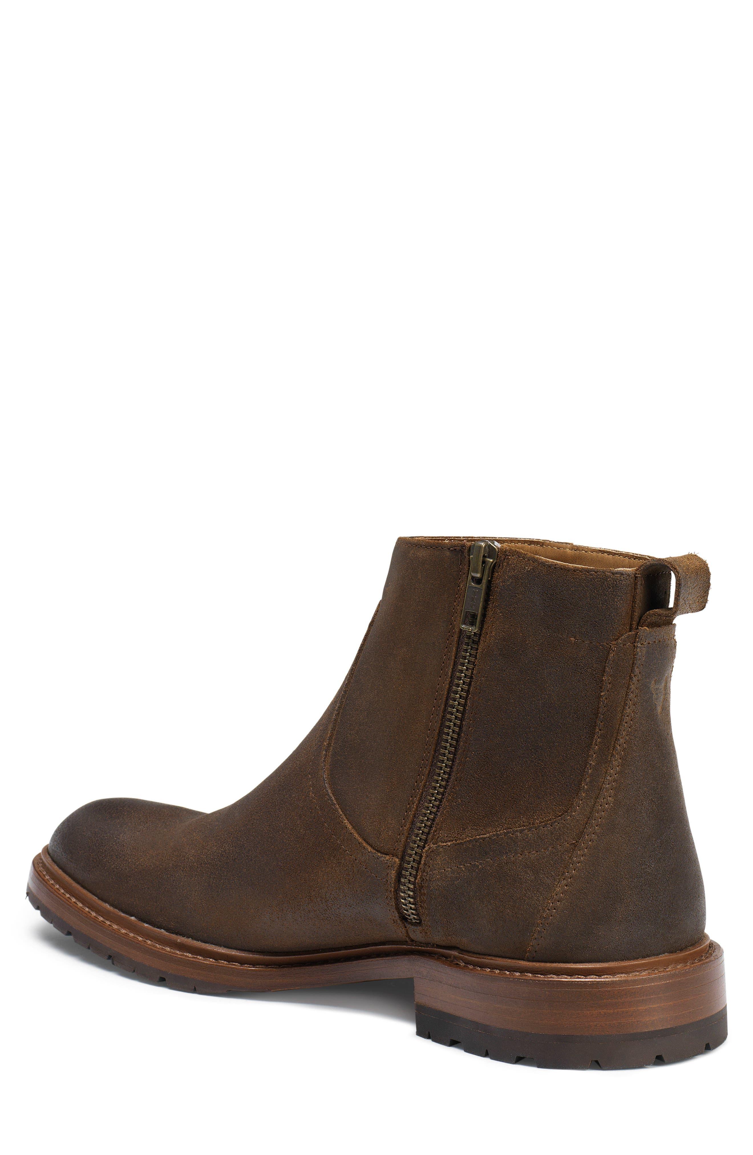 Larkin Zip Boot,                             Alternate thumbnail 2, color,                             Brown Waxed Suede