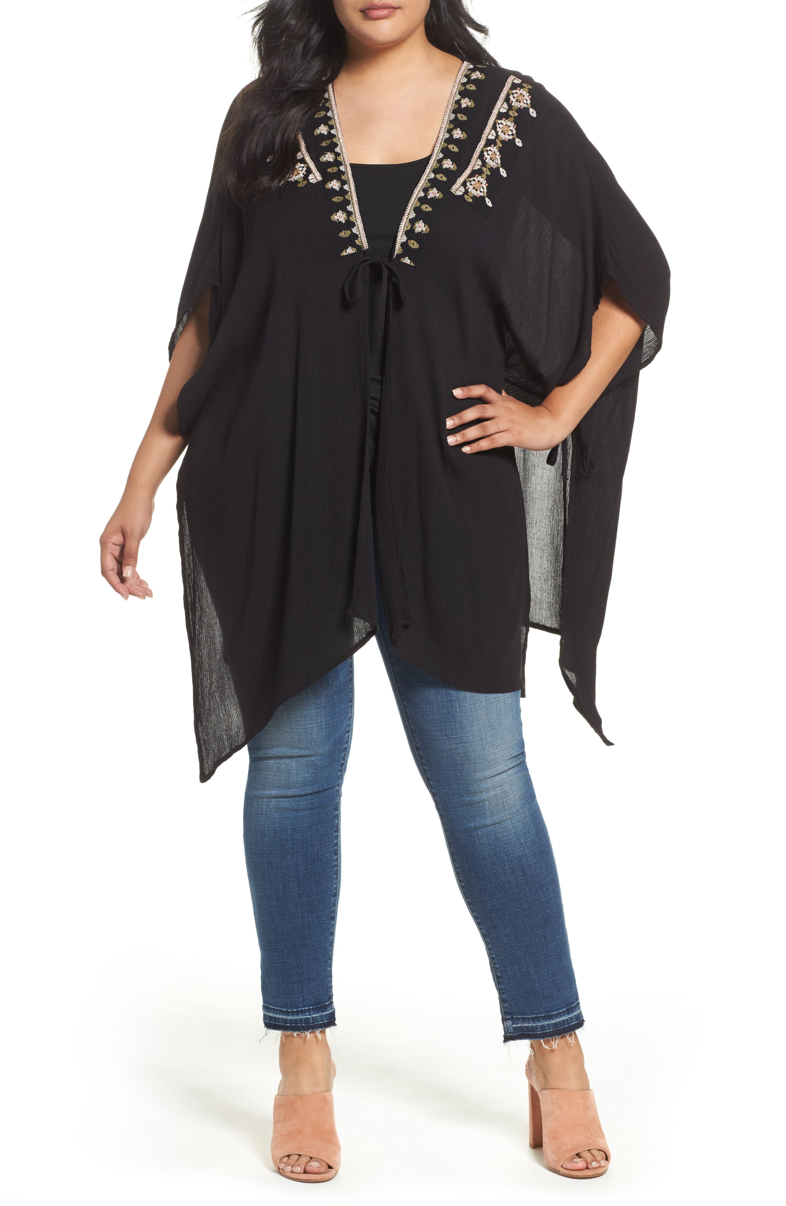 Alternate Image 1 Selected - Bobeau Embroidered Wrap (Plus Size)