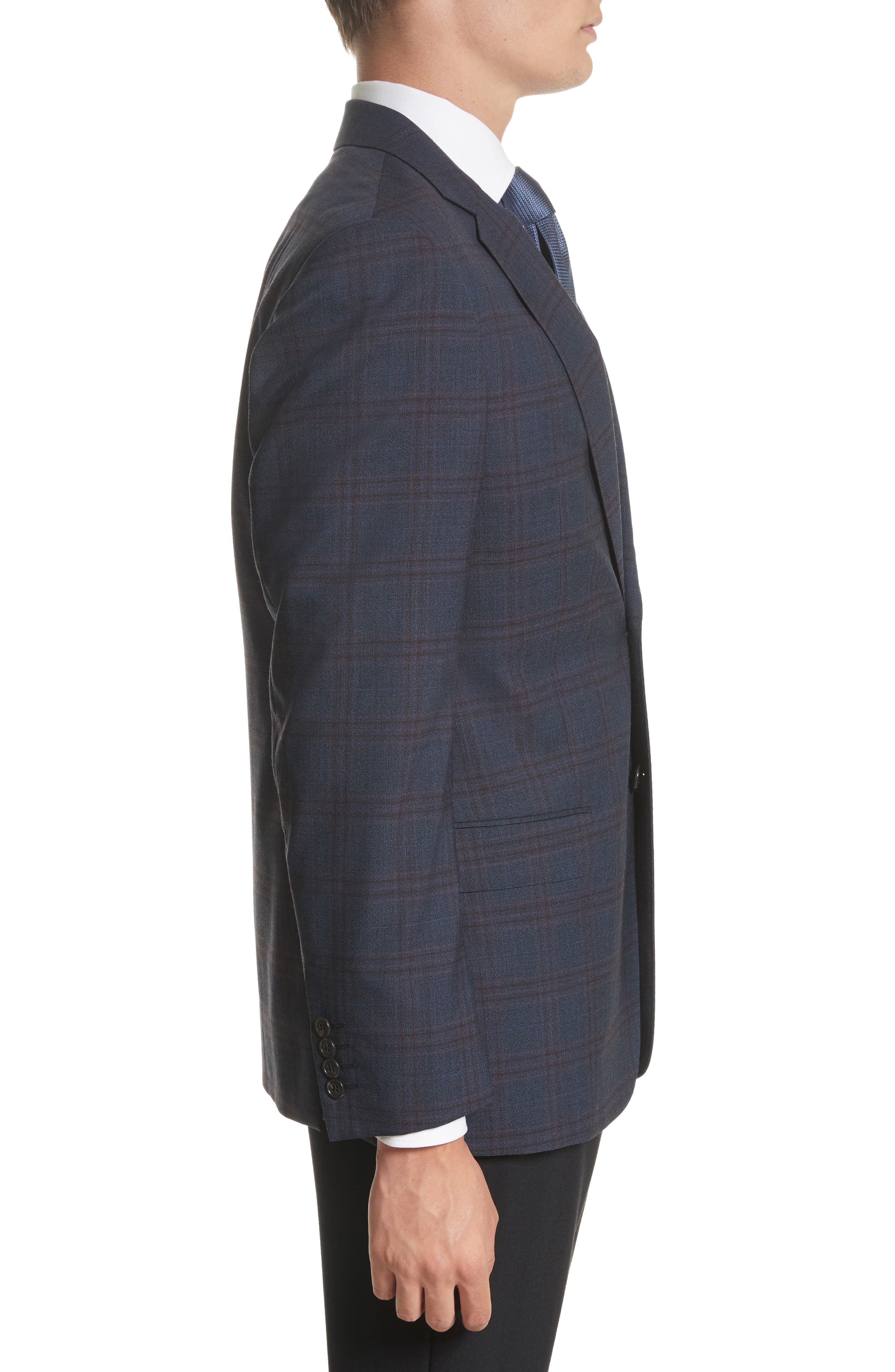 G-Line Trim Fit Plaid Wool Sport Coat,                             Alternate thumbnail 3, color,                             Navy