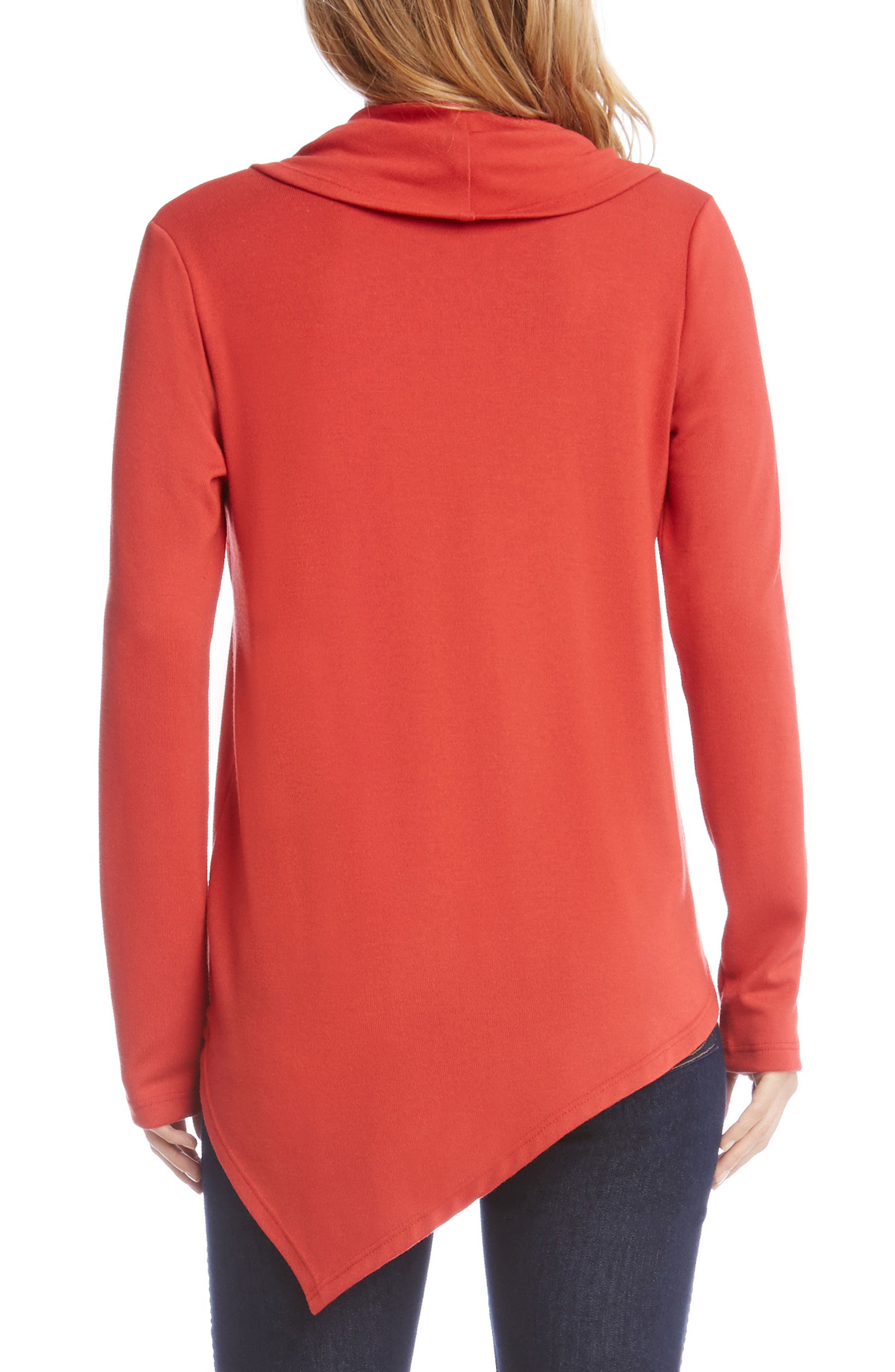 Cowl Neck Asymmetrical Sweater,                             Alternate thumbnail 2, color,                             Cayenne