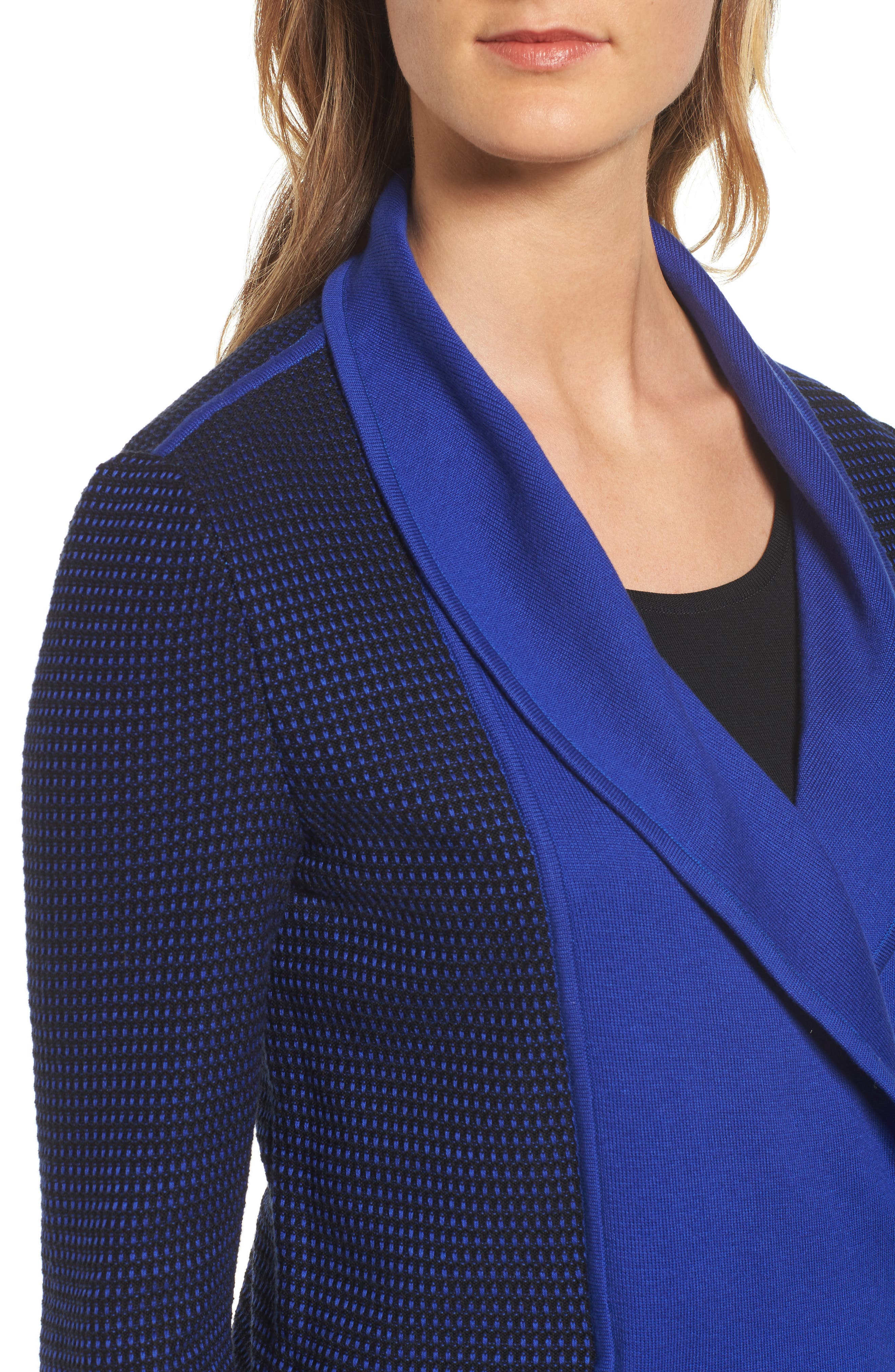 Asymetrical Zip Cardigan,                             Alternate thumbnail 4, color,                             Blue Flame/ Black
