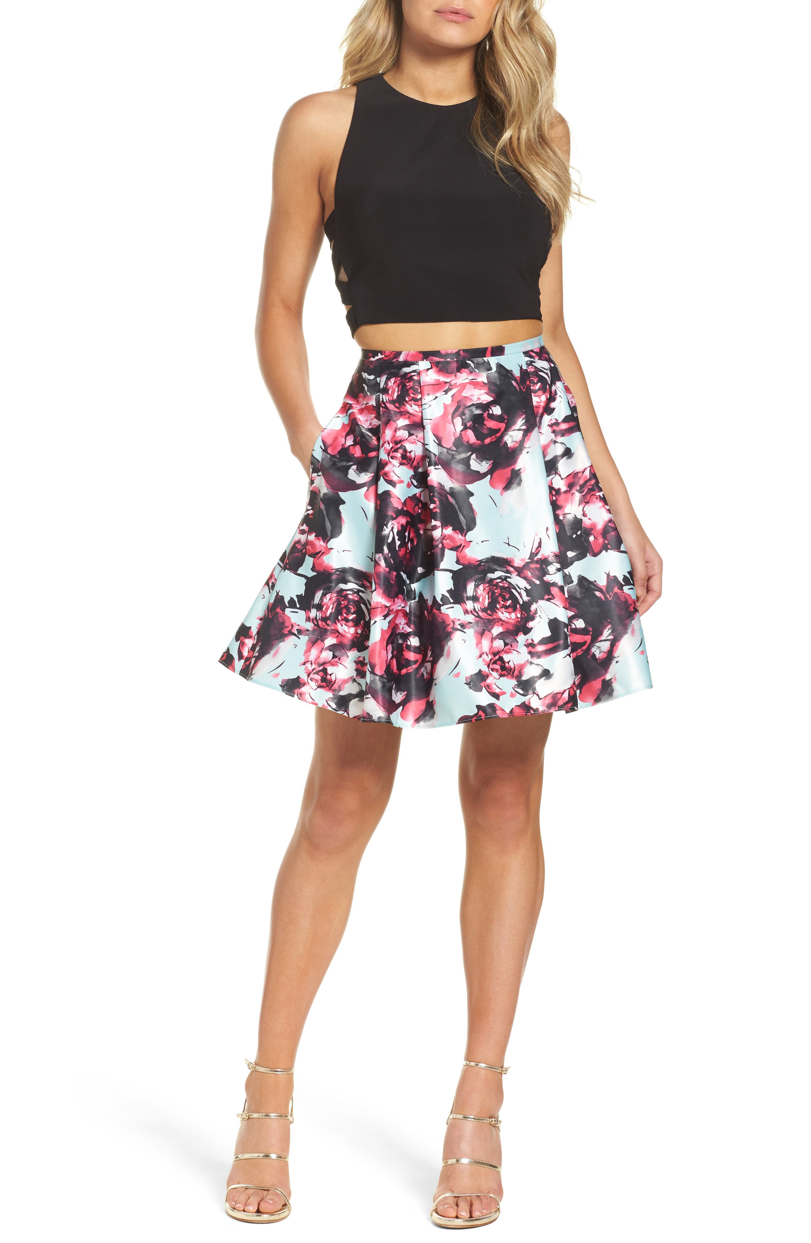 Strappy Floral Two-Piece Dress,                         Main,                         color, Black/ Mint/ Pink