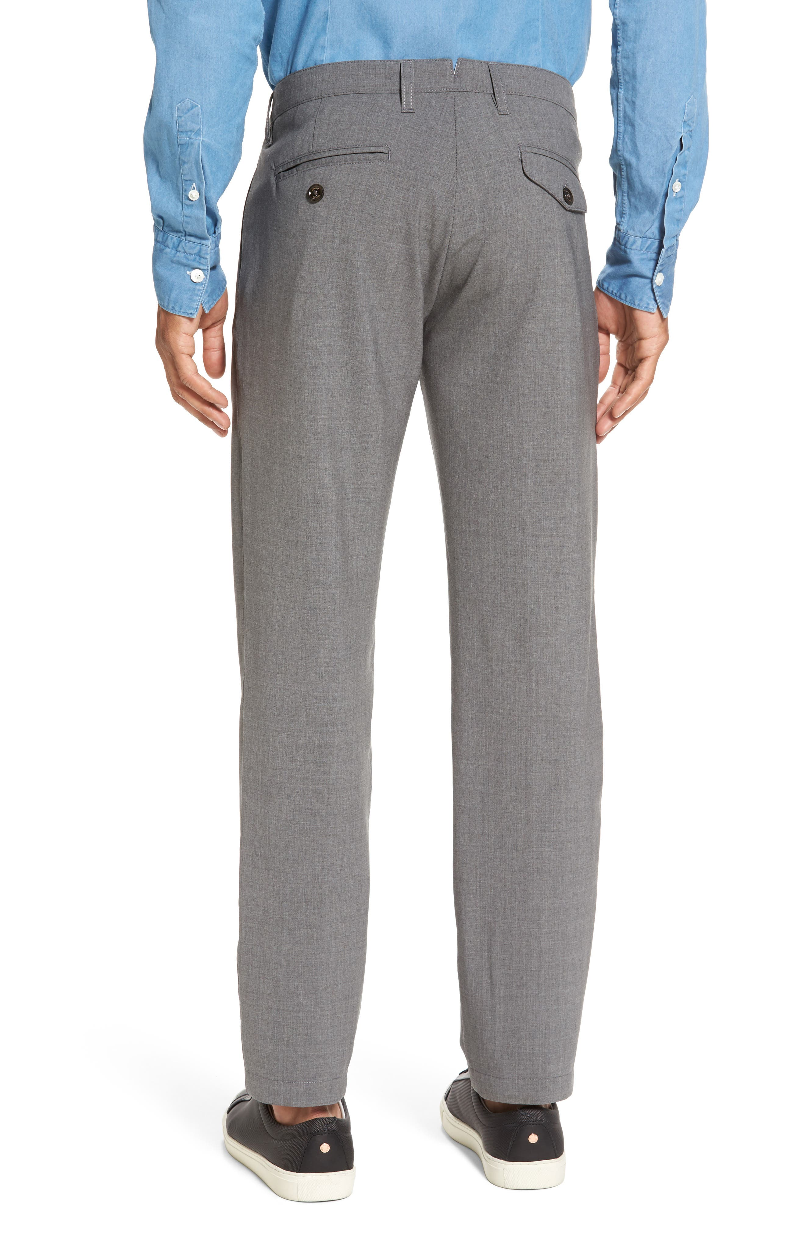 Flat Front Wool Trousers,                             Alternate thumbnail 2, color,                             Medium Grey