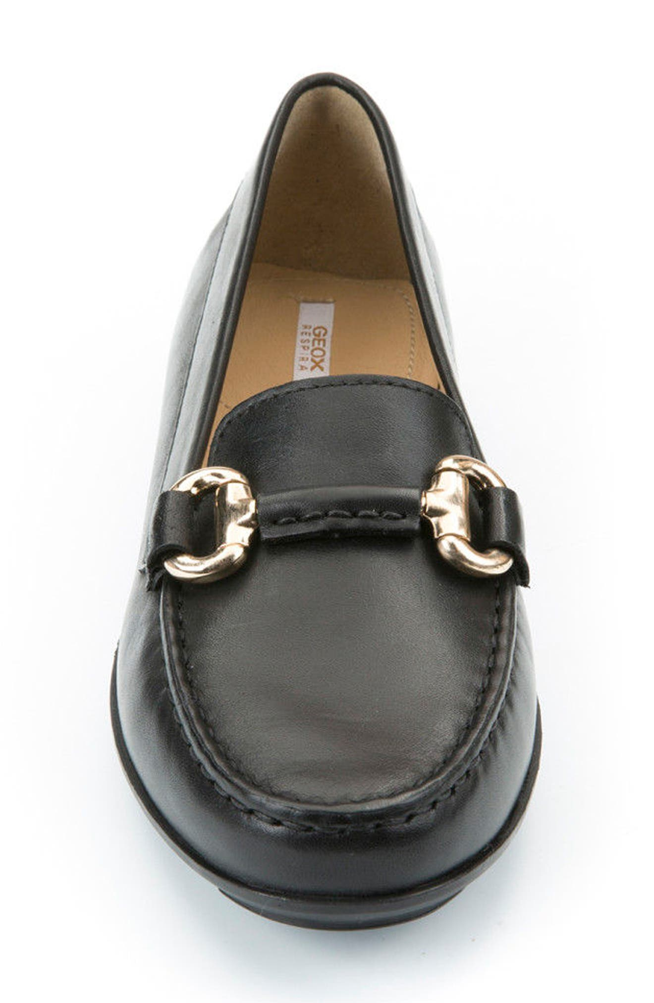 Elidia Buckle Loafer,                             Alternate thumbnail 4, color,                             Black Leather
