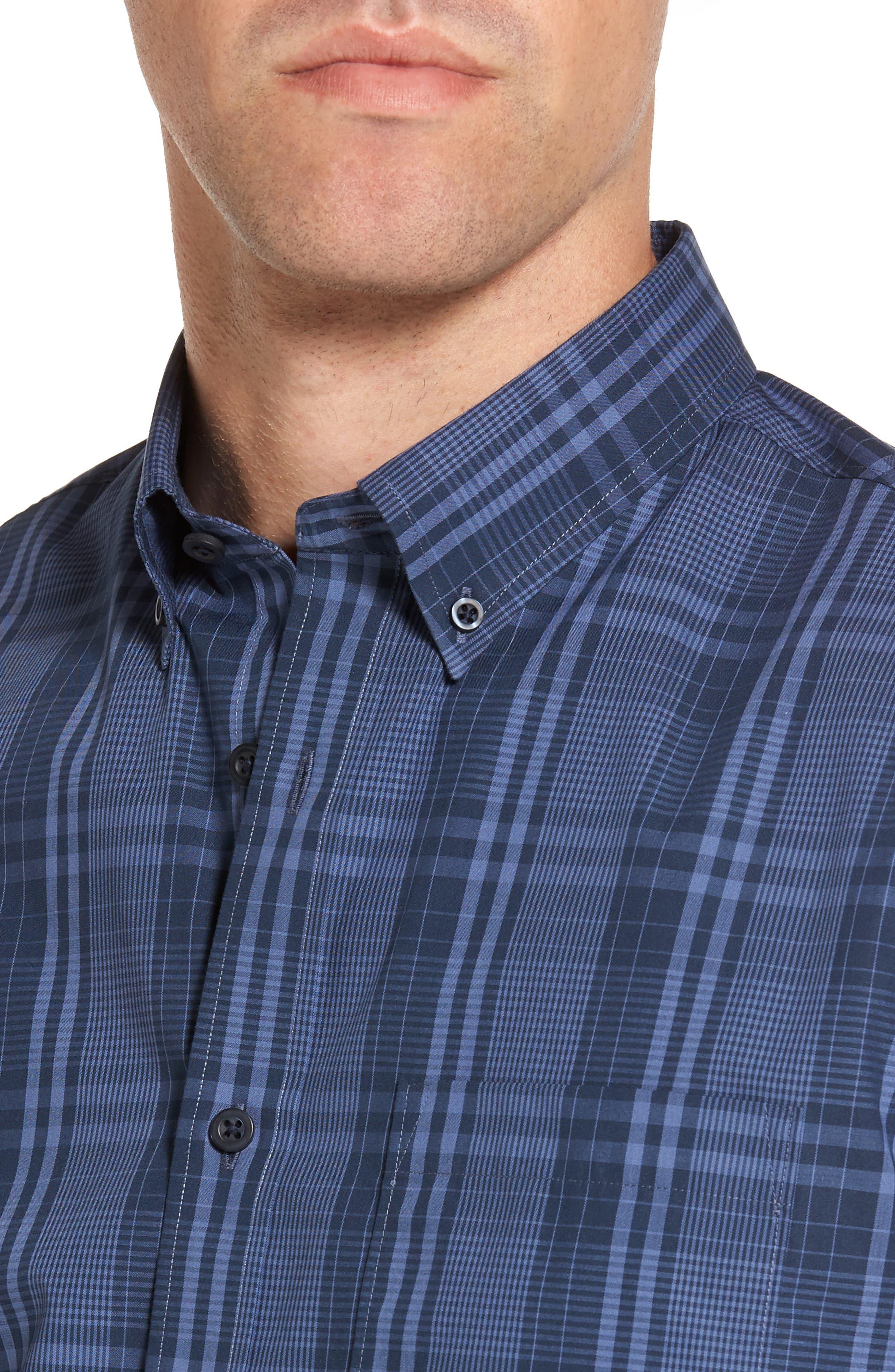 Slim Fit Plaid Sport Shirt,                             Alternate thumbnail 4, color,                             Navy Iris Blue Plaid