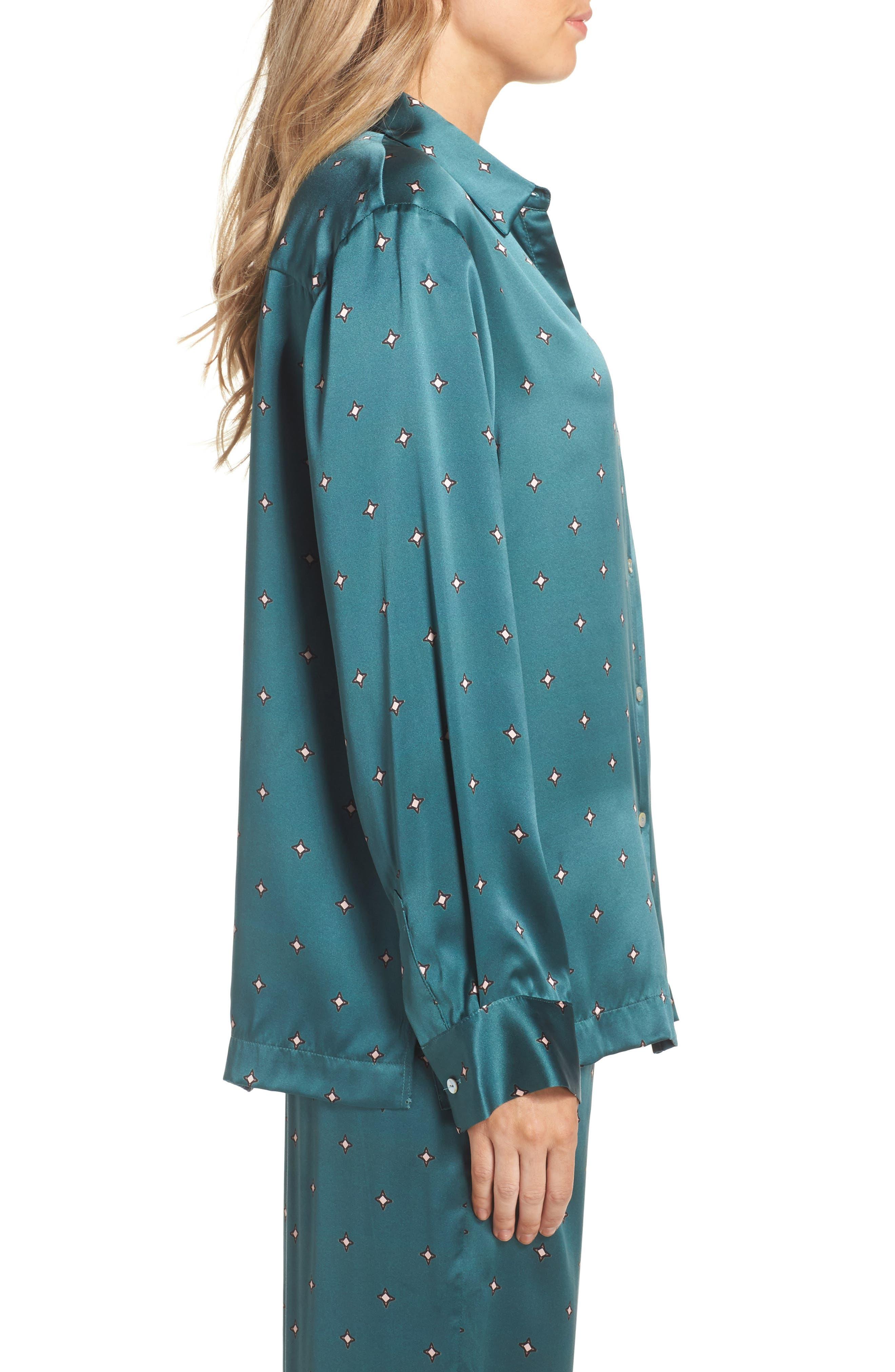 Print Silk Pajama Top,                             Alternate thumbnail 3, color,                             Jade Star