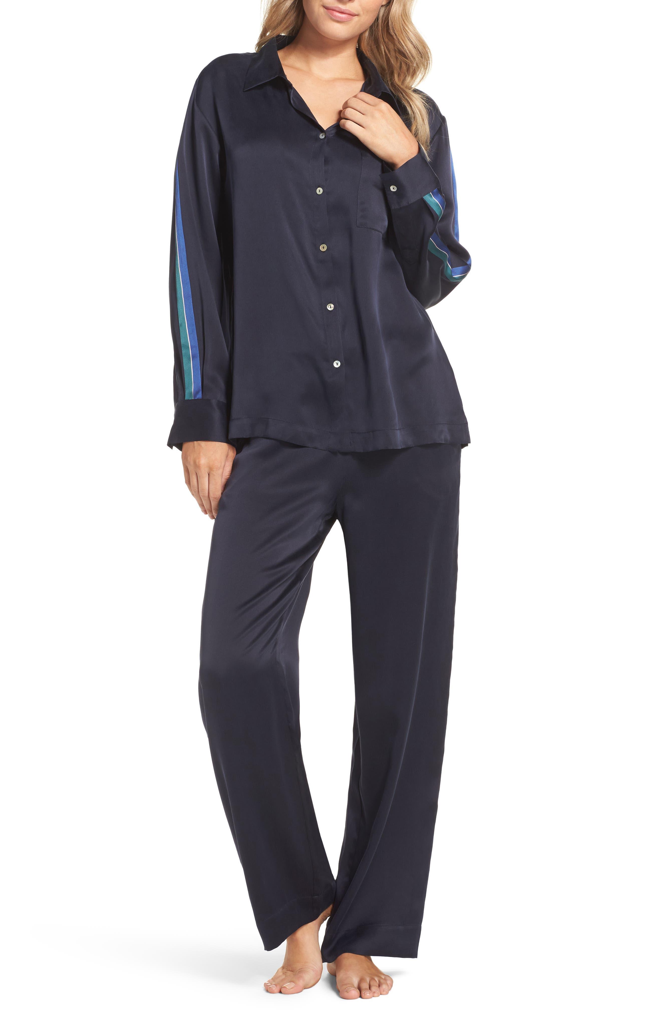 Silk Pajama Top,                             Alternate thumbnail 5, color,                             Midnight Bold Stripe