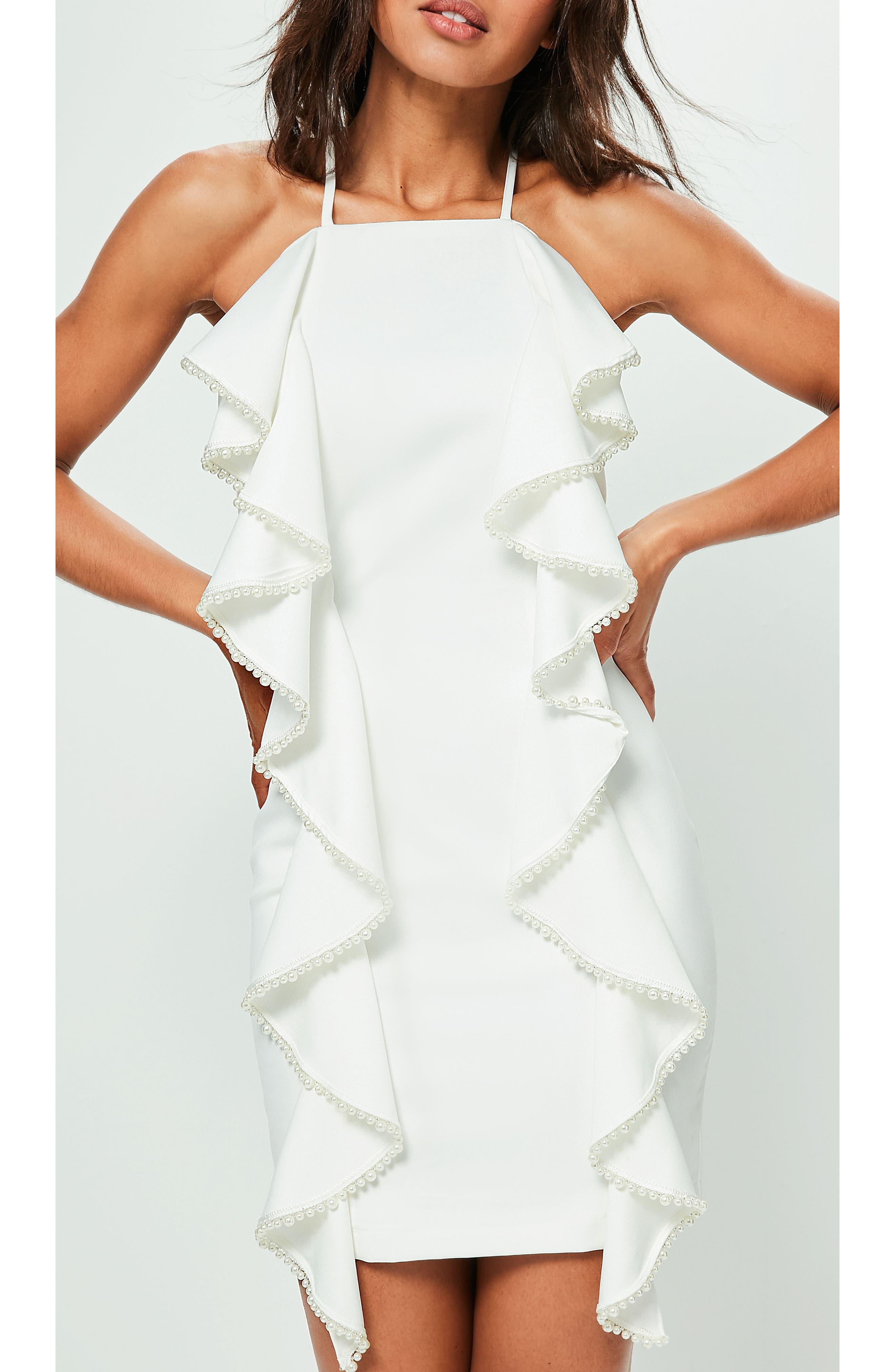 Frill & Pearl Body-Con Dress,                             Alternate thumbnail 3, color,                             White