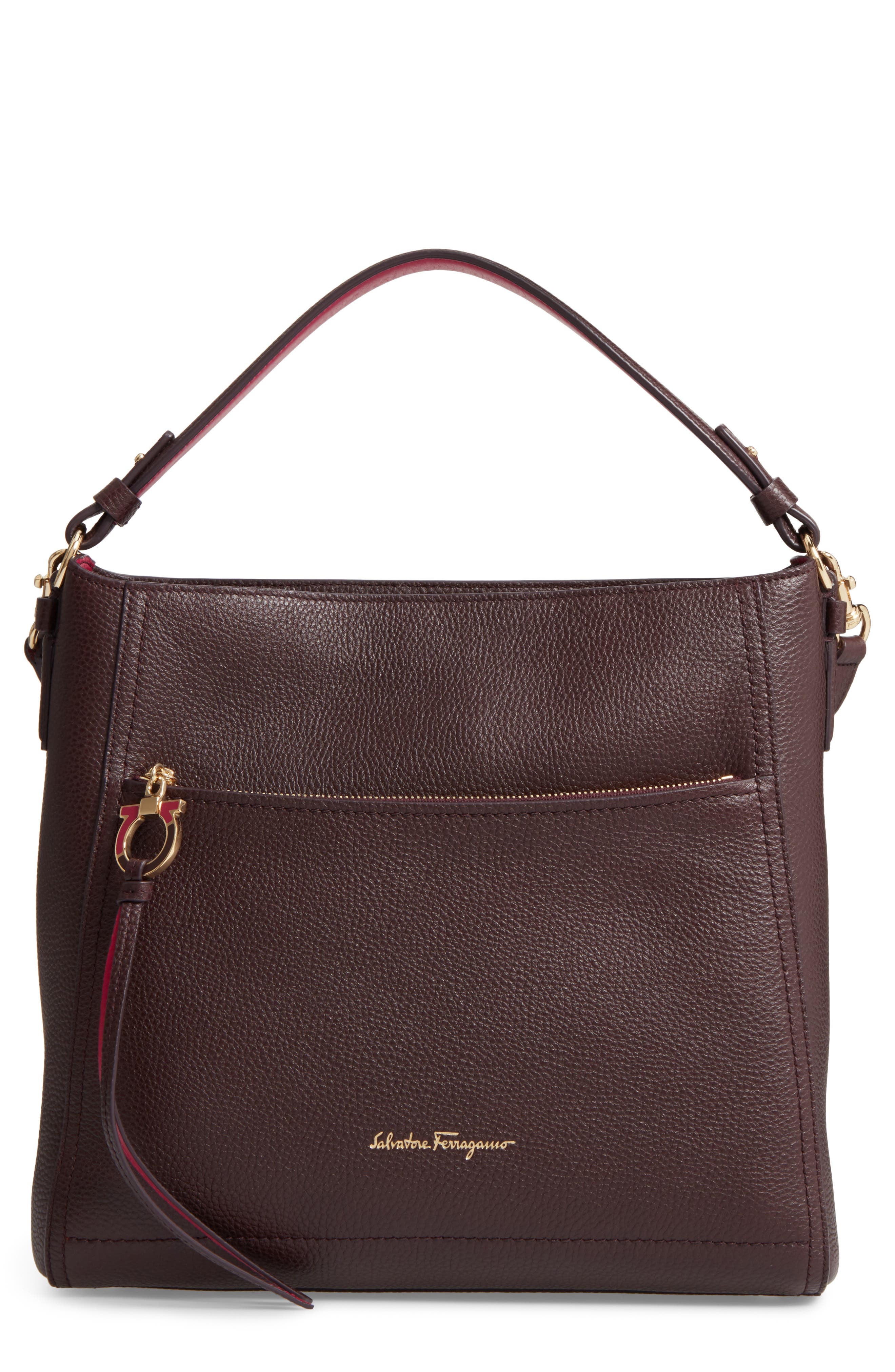 Medium Leather Top Handle Tote,                         Main,                         color, Deep Bord/ Pink