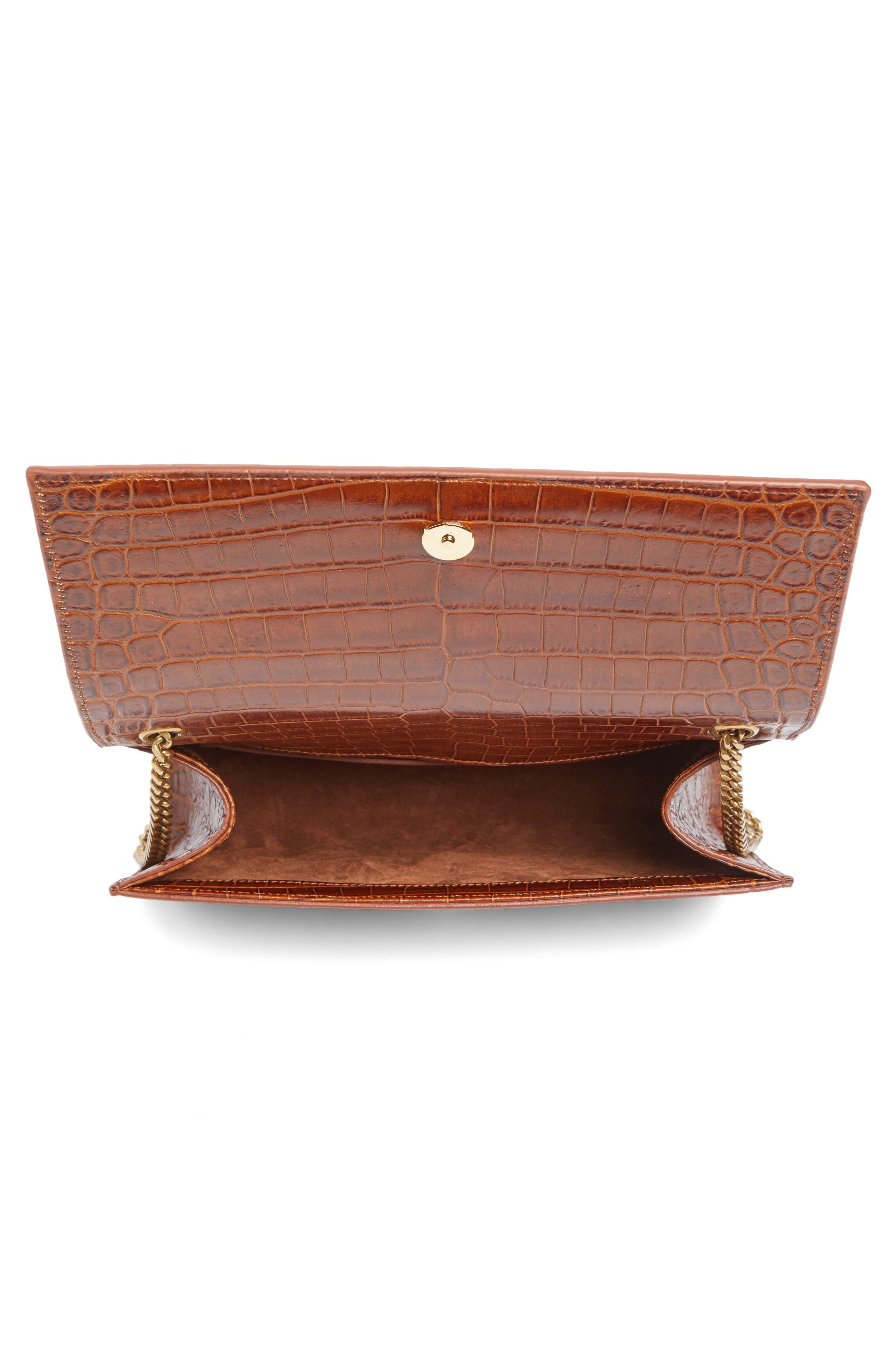 Alternate Image 4  - Saint Laurent Medium Kate Croc Embossed Leather Shoulder Bag