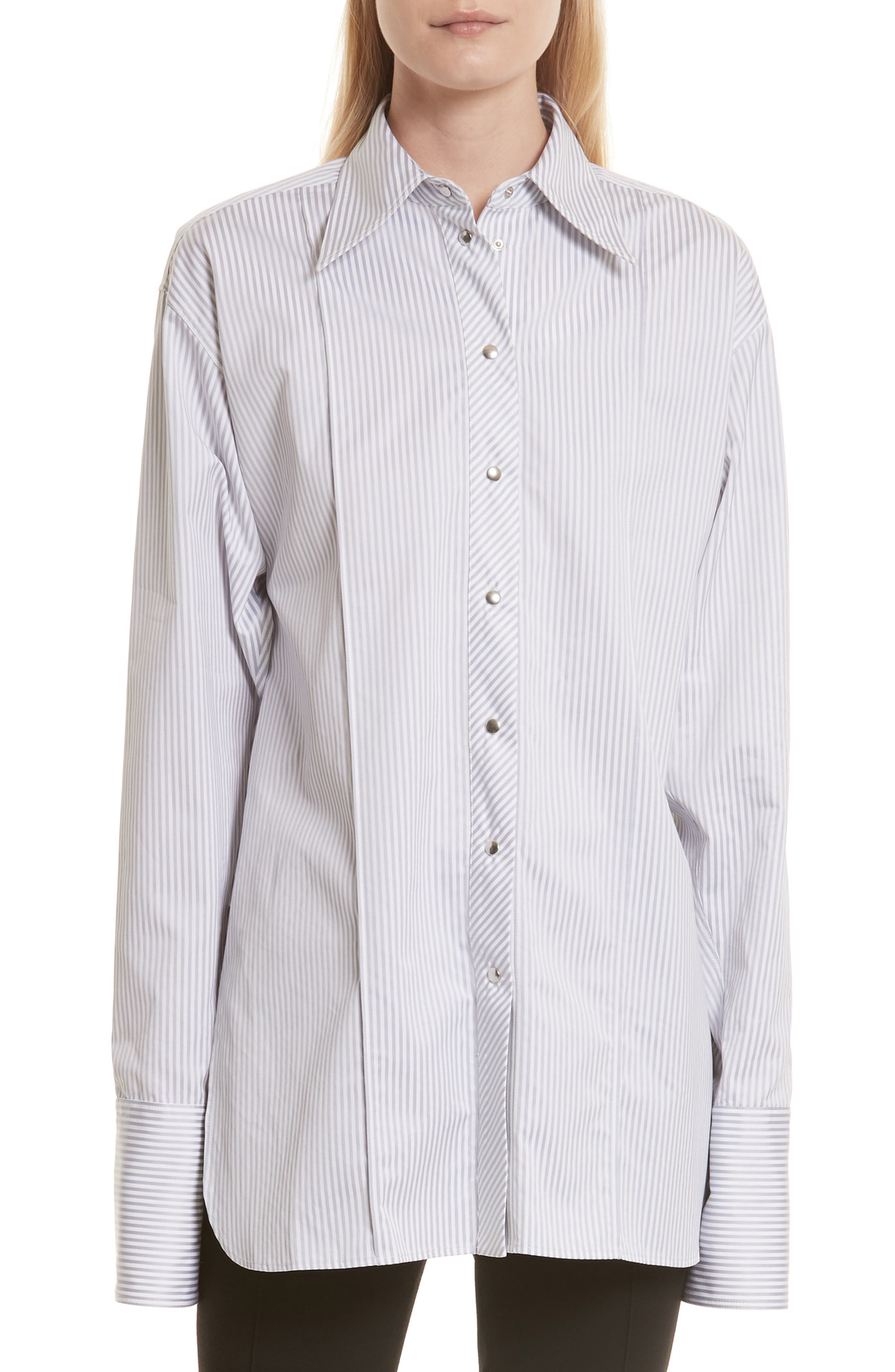 Stripe Poplin Blouse,                             Main thumbnail 1, color,                             Grey Multi