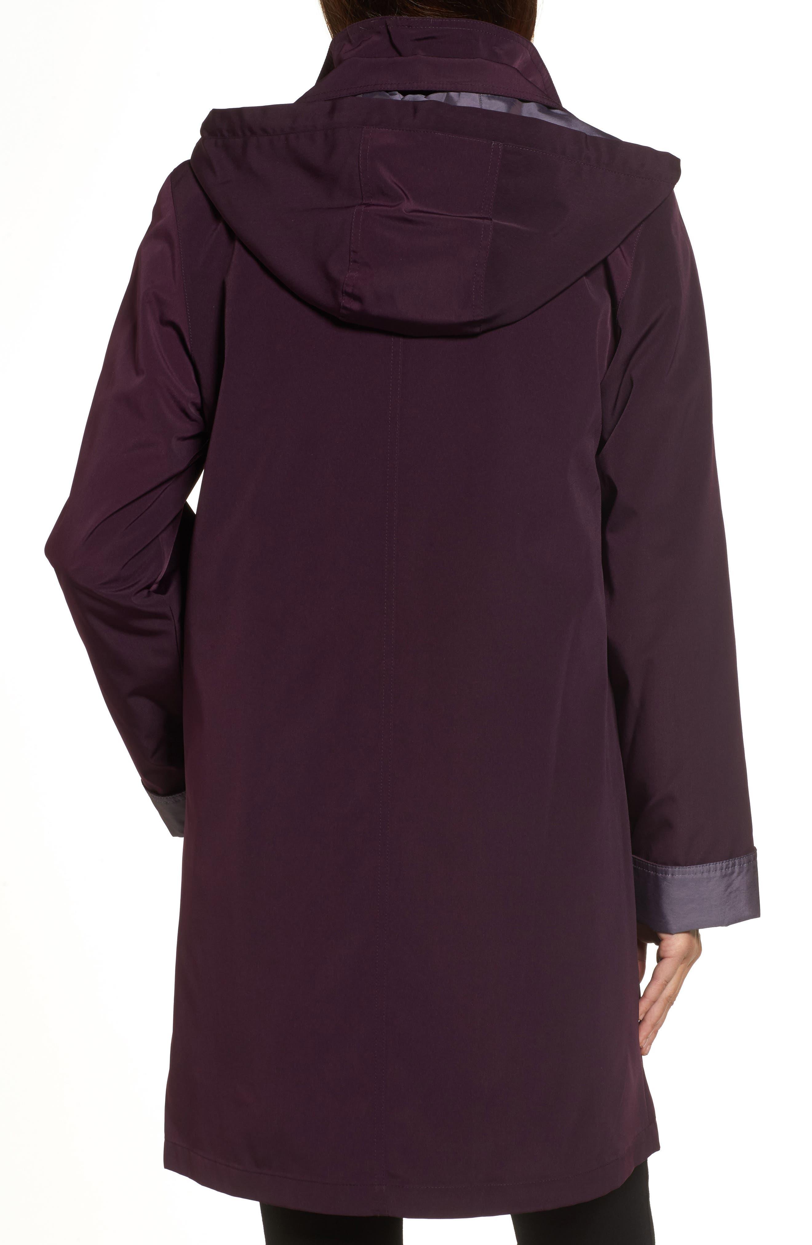 A-Line Raincoat with Detachable Hood & Liner,                             Alternate thumbnail 2, color,                             Blackberry