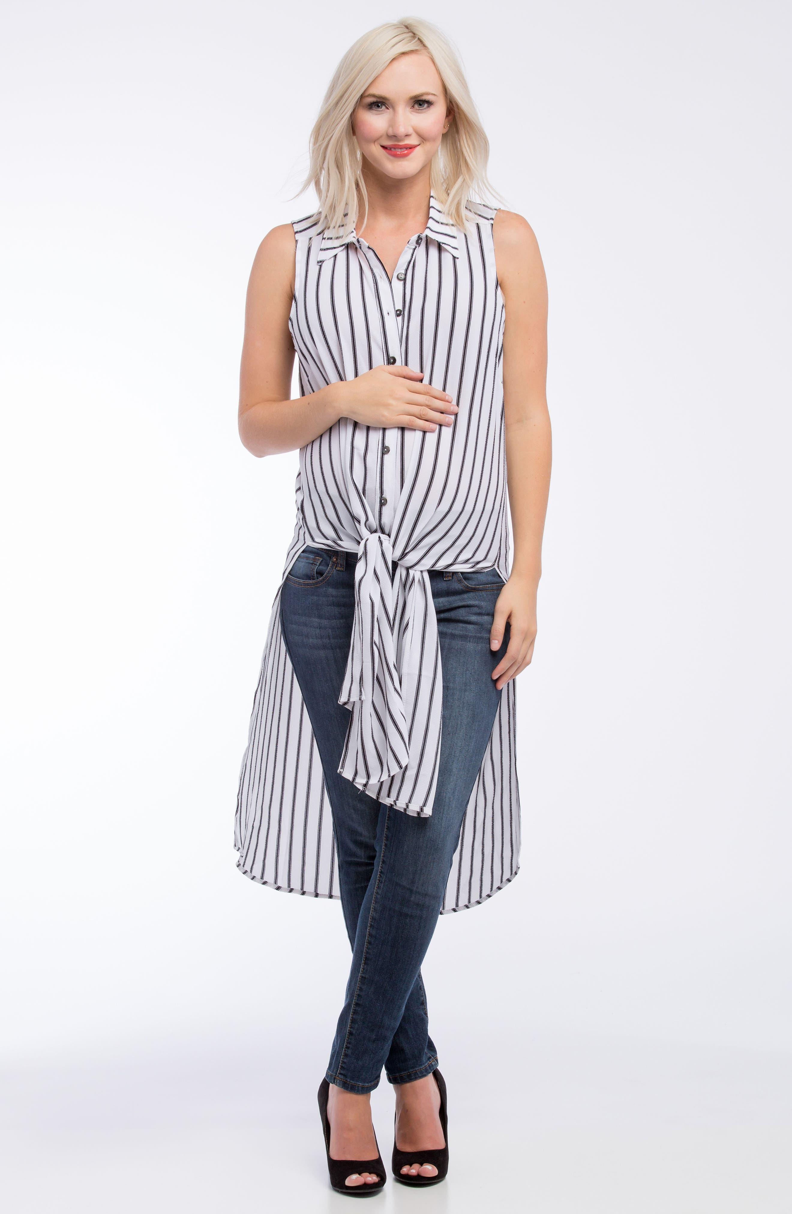 Alternate Image 2  - Lilac Clothing Print Maternity Tunic