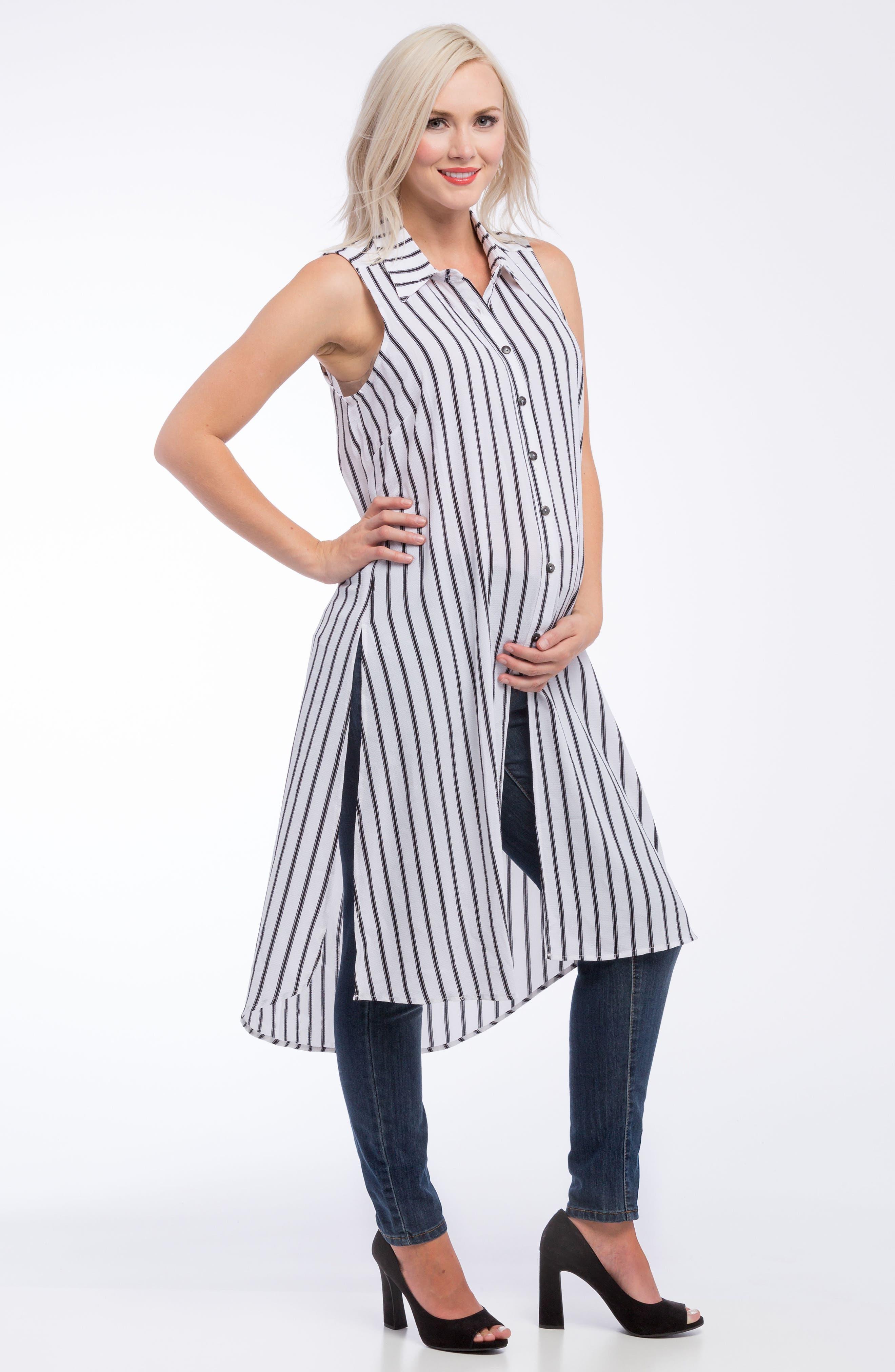 Alternate Image 3  - Lilac Clothing Print Maternity Tunic