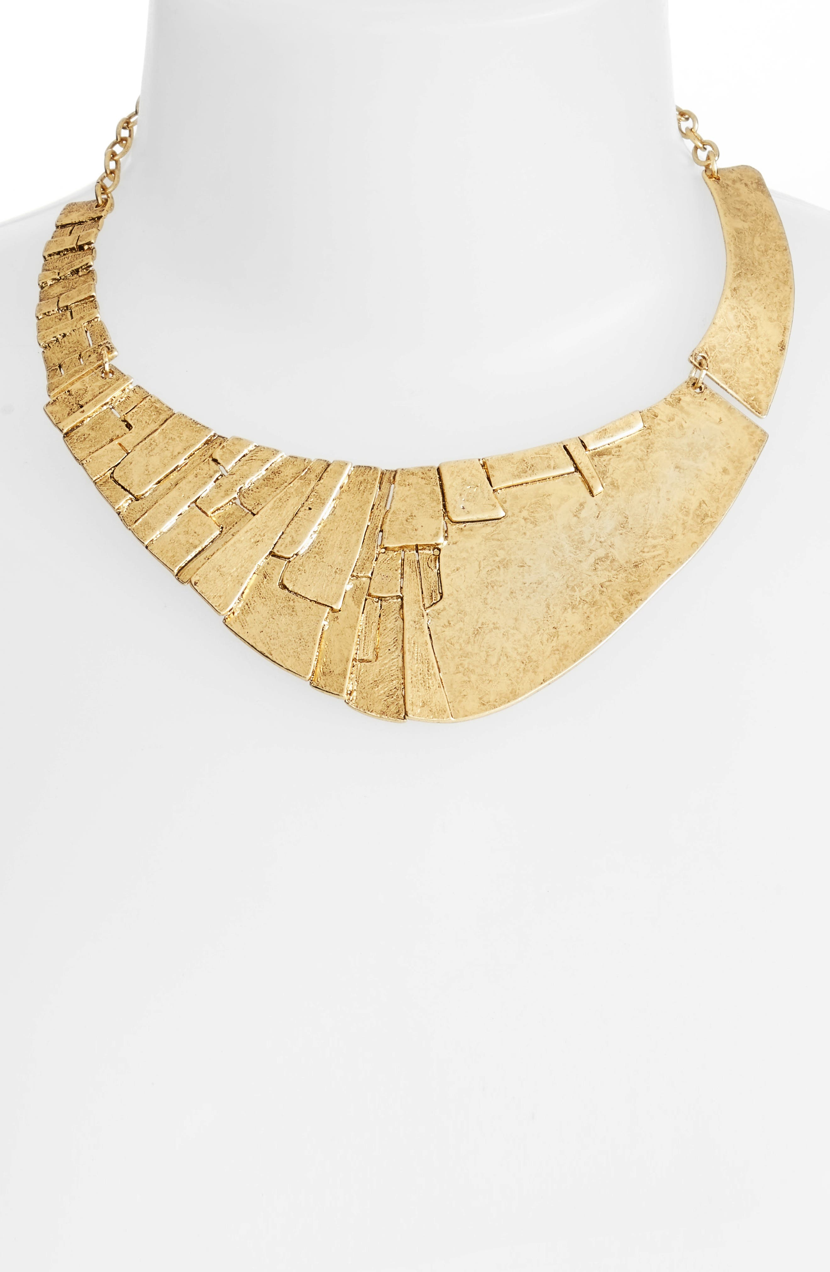 Statement Collar Necklace,                             Alternate thumbnail 2, color,                             Gold