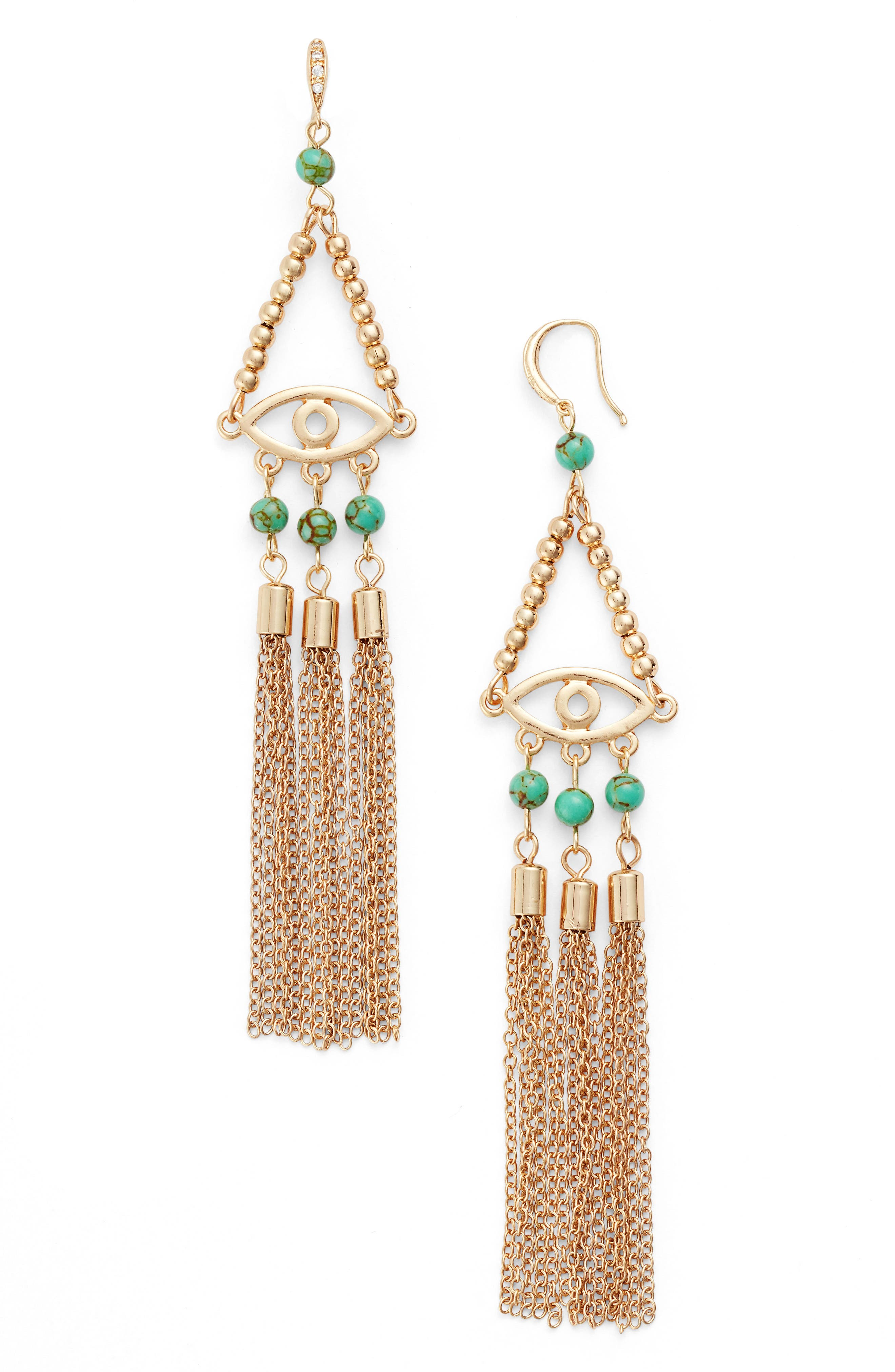 Evil Eye 18k Gold Plated Drop Earrings,                             Main thumbnail 1, color,                             Turquoise
