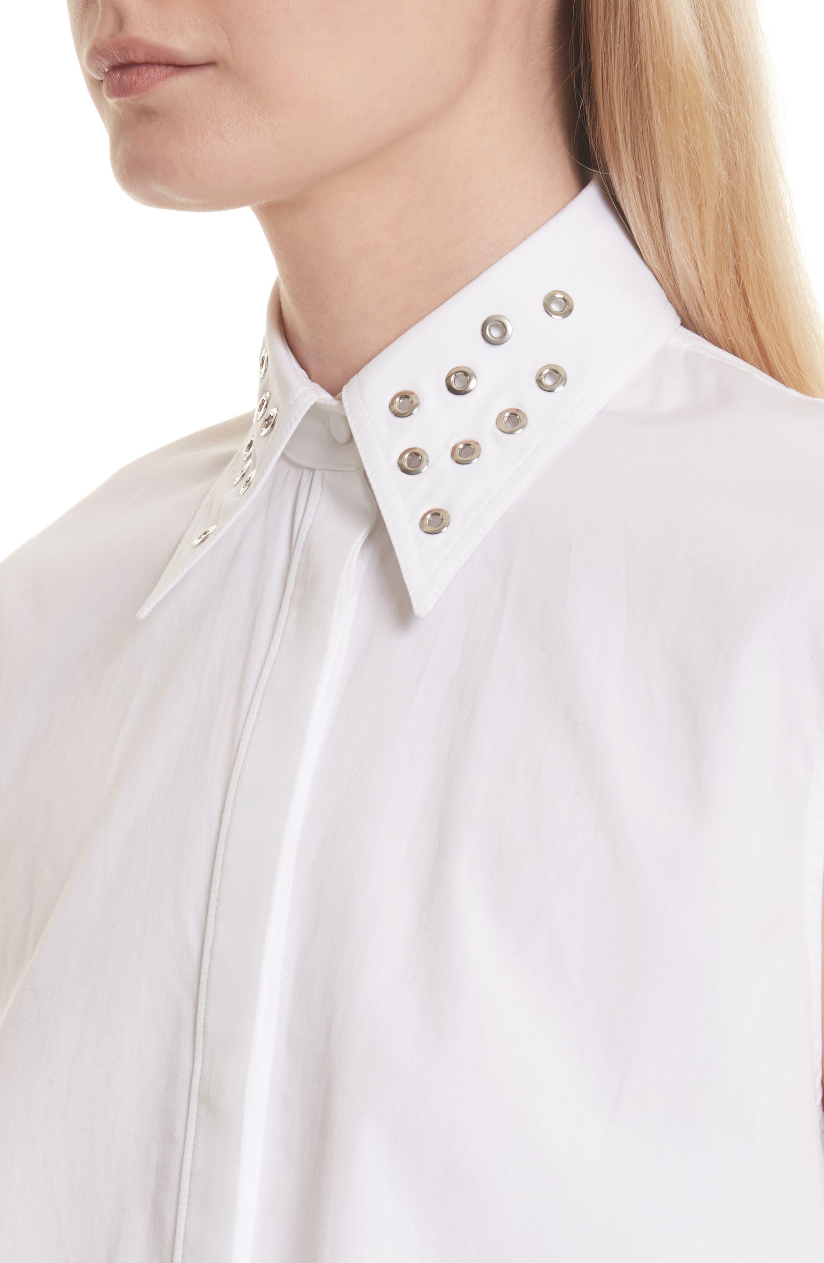Eyelet Cotton Poplin Shirt,                             Alternate thumbnail 5, color,                             Bright White