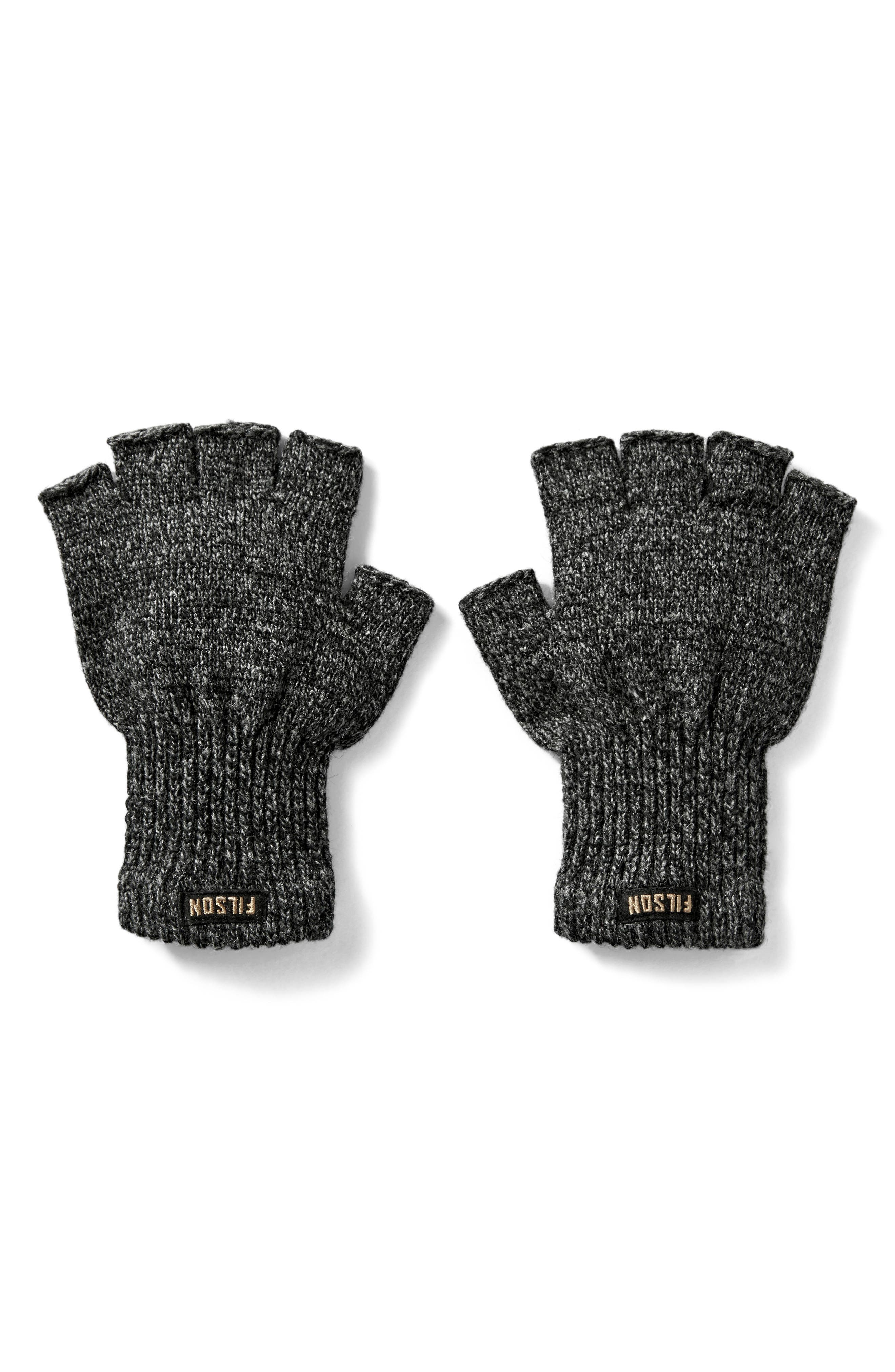 Fingerless Wool Blend Knit Gloves,                         Main,                         color, Charcoal