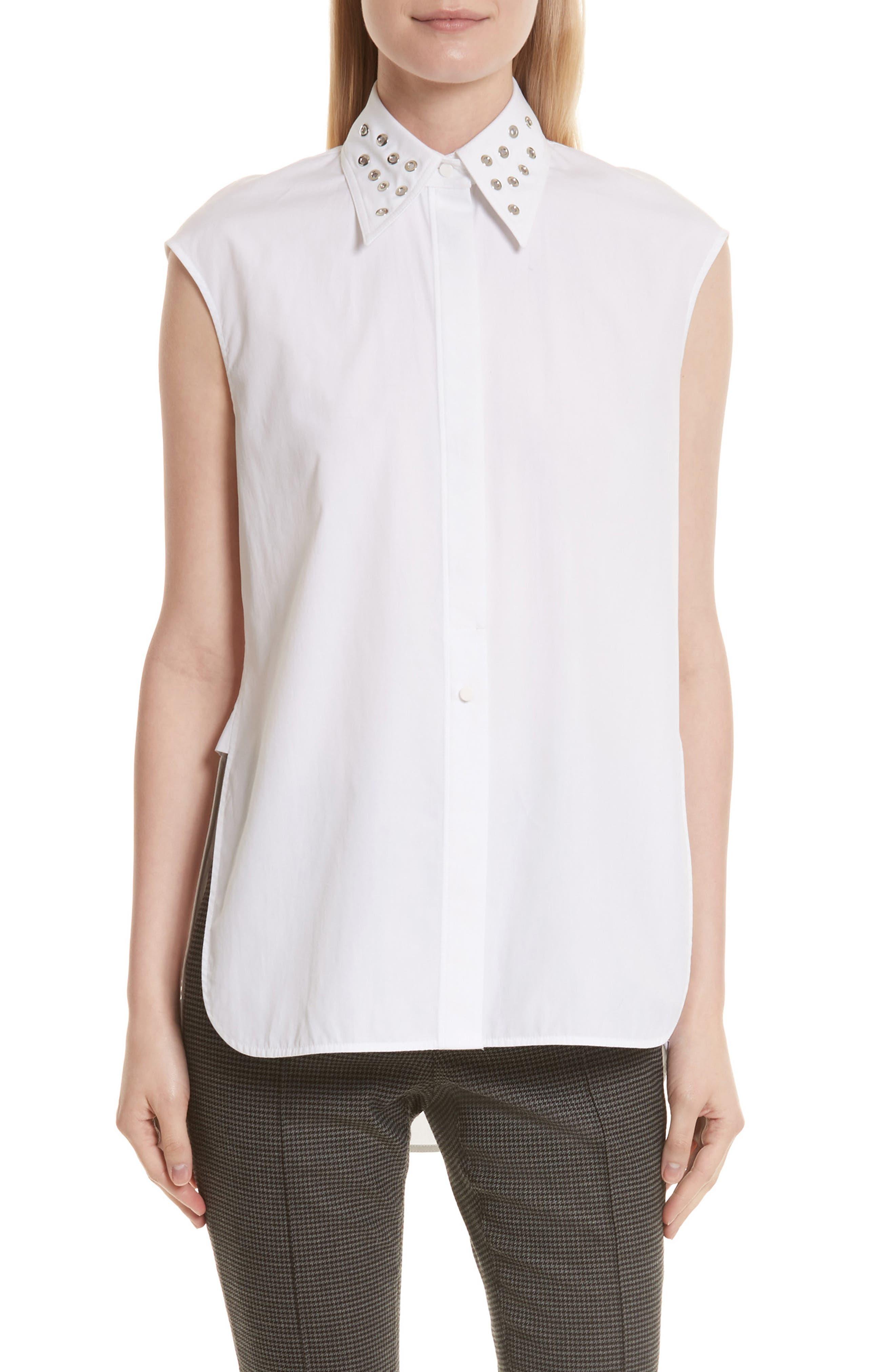 Eyelet Cotton Poplin Shirt,                             Main thumbnail 1, color,                             Bright White