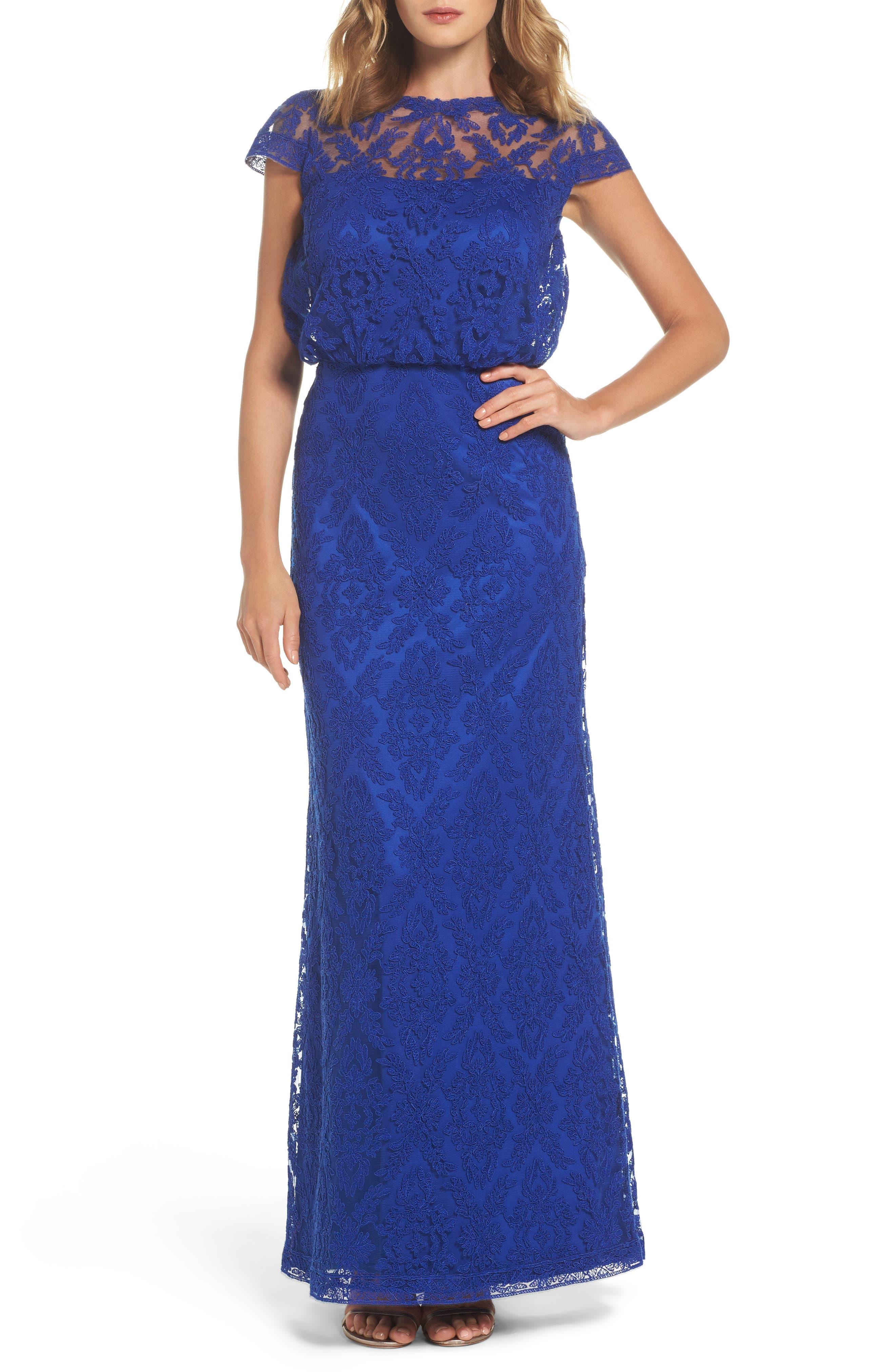Corded Lace Blouson Gown,                         Main,                         color, Royal