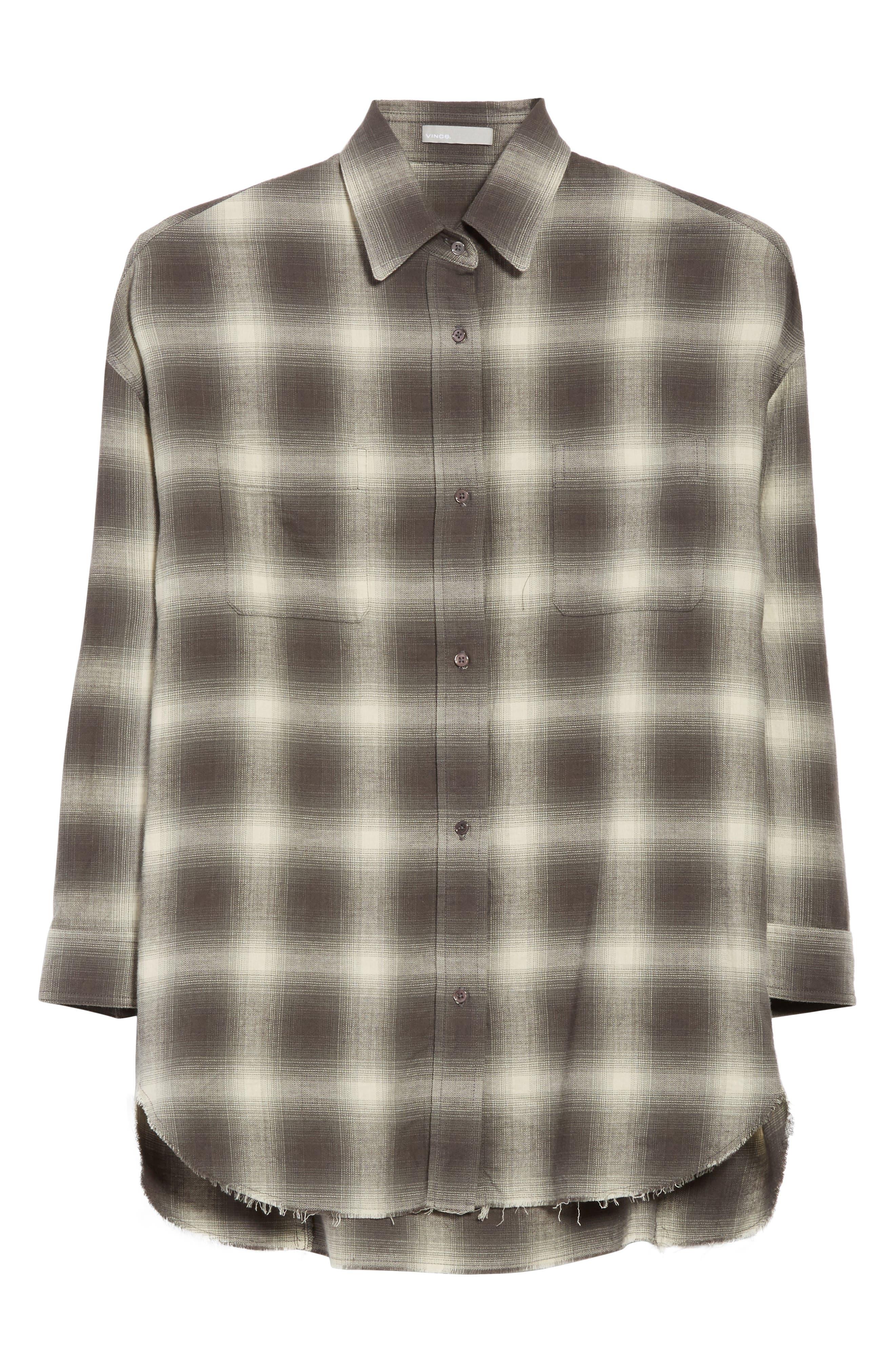 Brushed Window Plaid Oversize Shirt,                             Alternate thumbnail 7, color,                             Grey