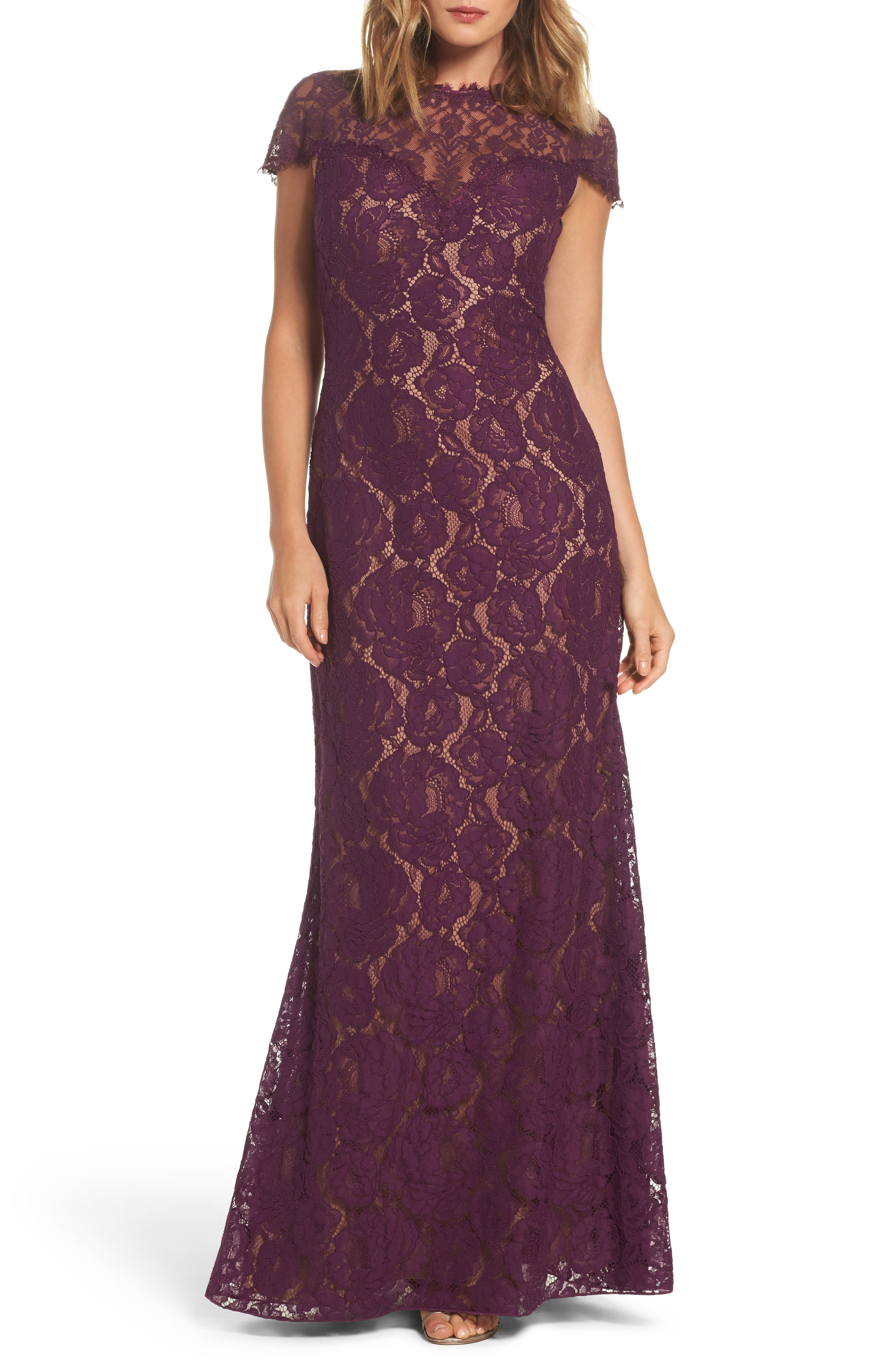 Tadashi Shoji Corded Lace A-Line Gown