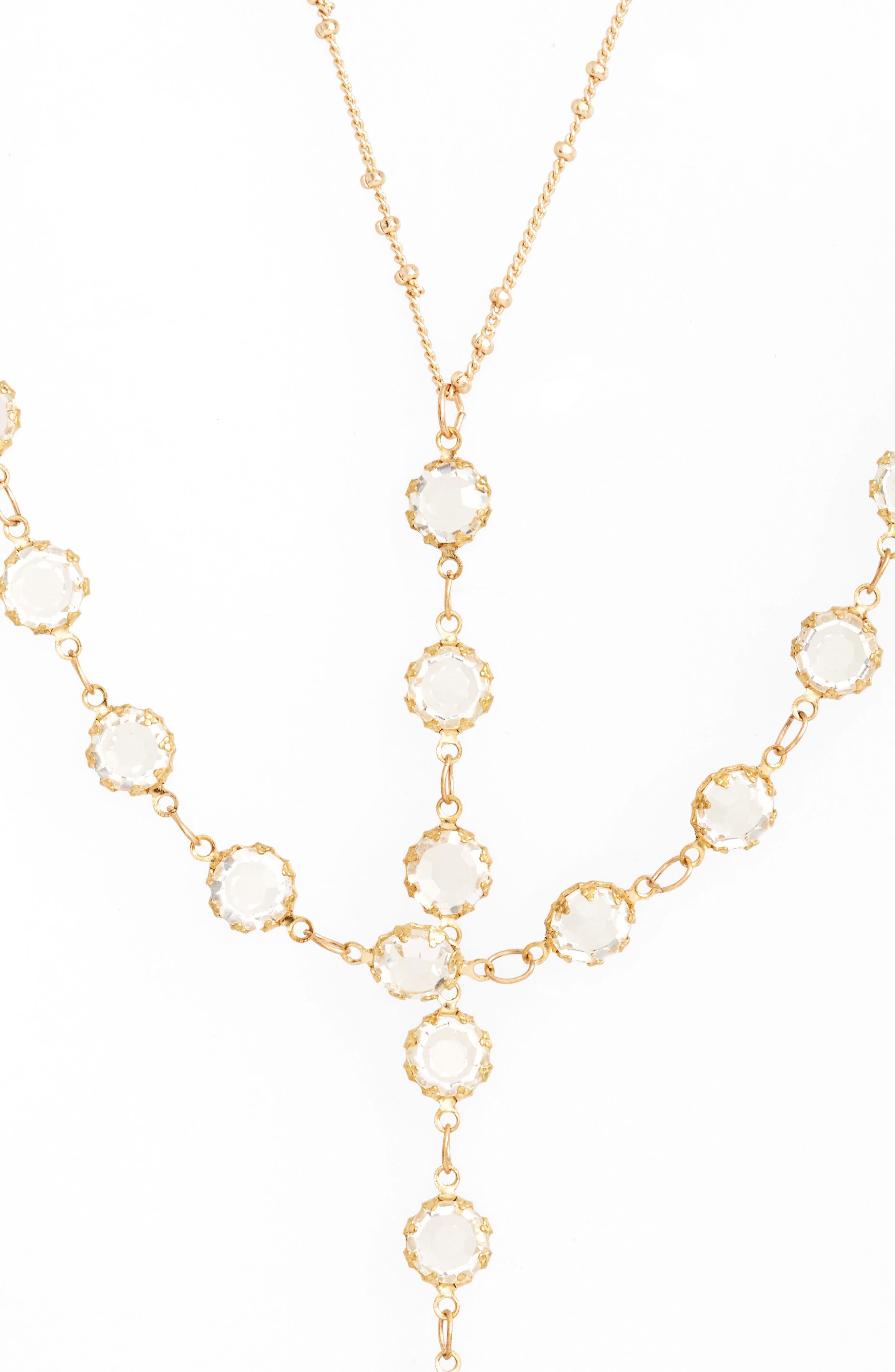 Vintage Crystal Y-Necklace,                         Main,                         color, Gold/ Crystal