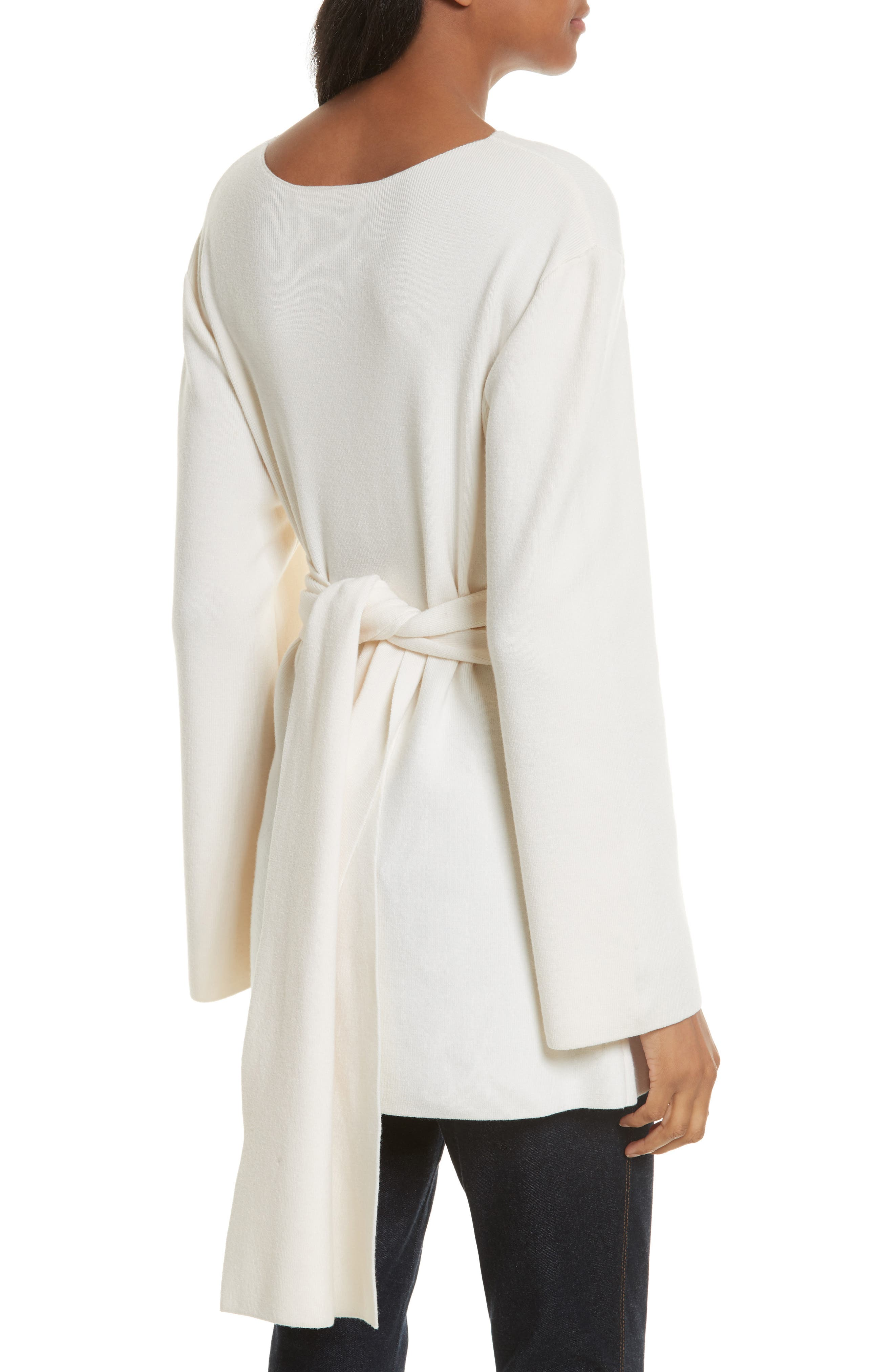 Twist Tie Stretch Wool Sweater Tunic,                             Alternate thumbnail 2, color,                             White