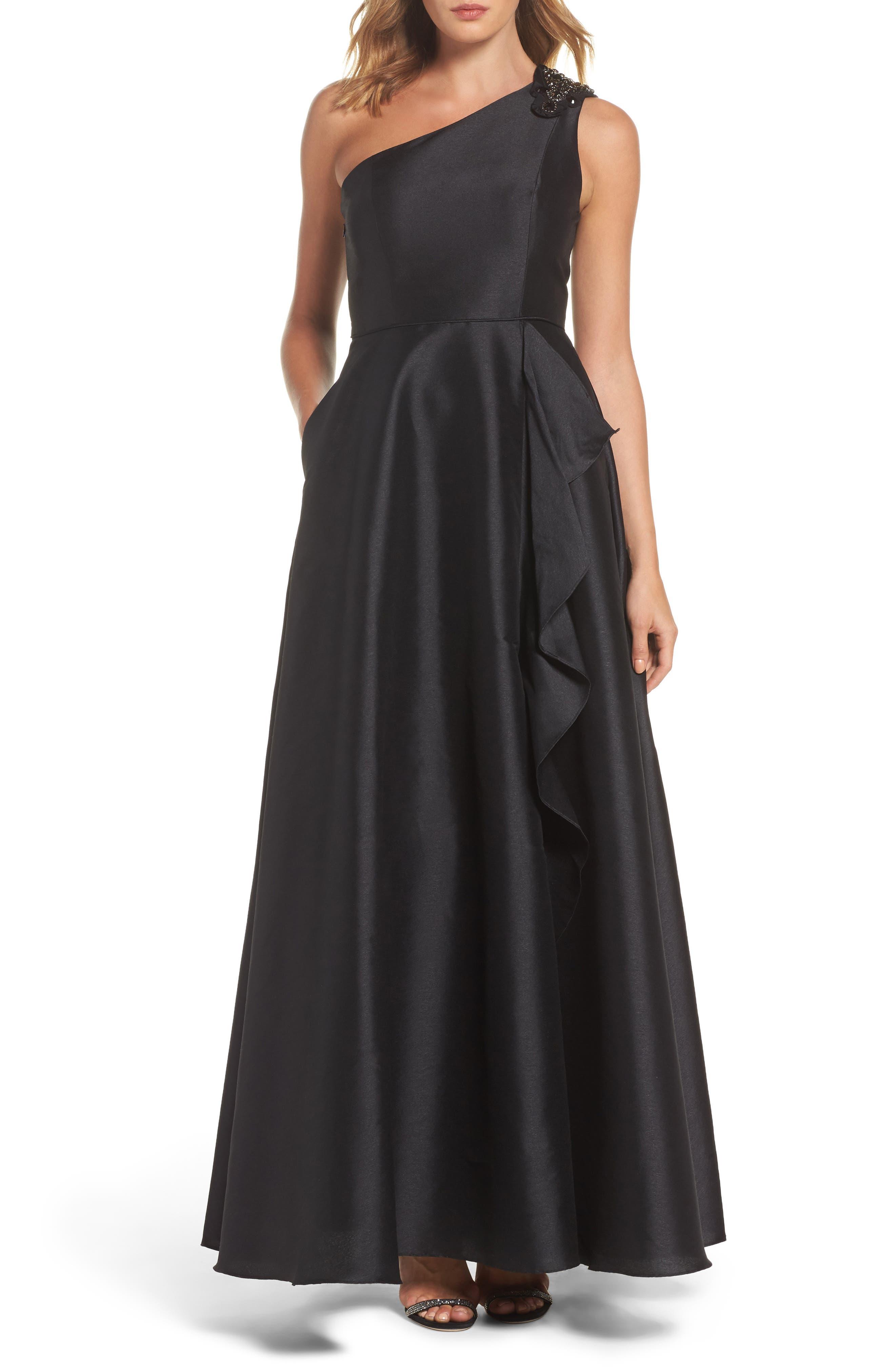 Embellished One-Shoulder Drape Faille Gown,                         Main,                         color, Black