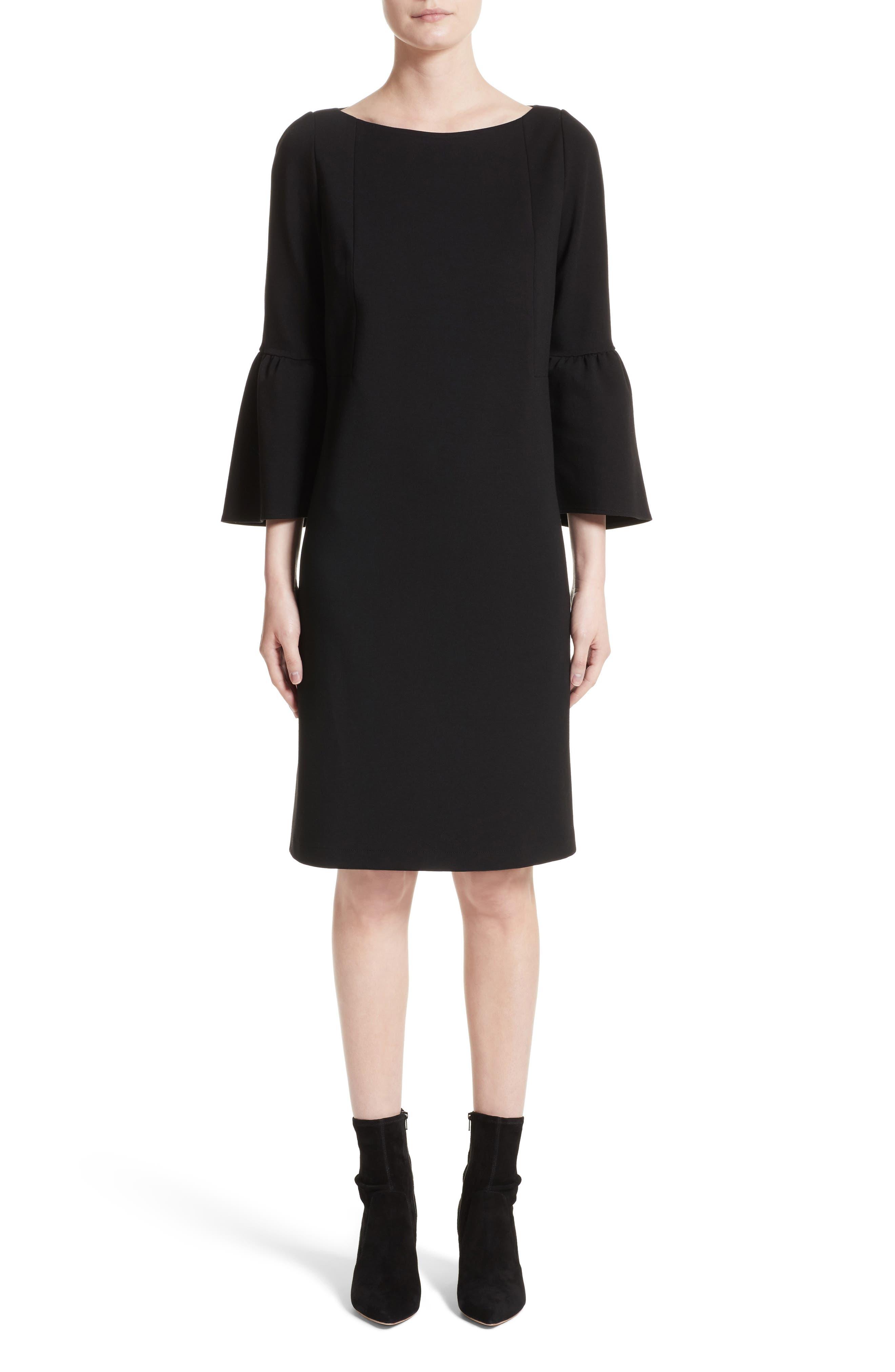 Marissa Punto Milano Dress,                             Main thumbnail 1, color,                             Black