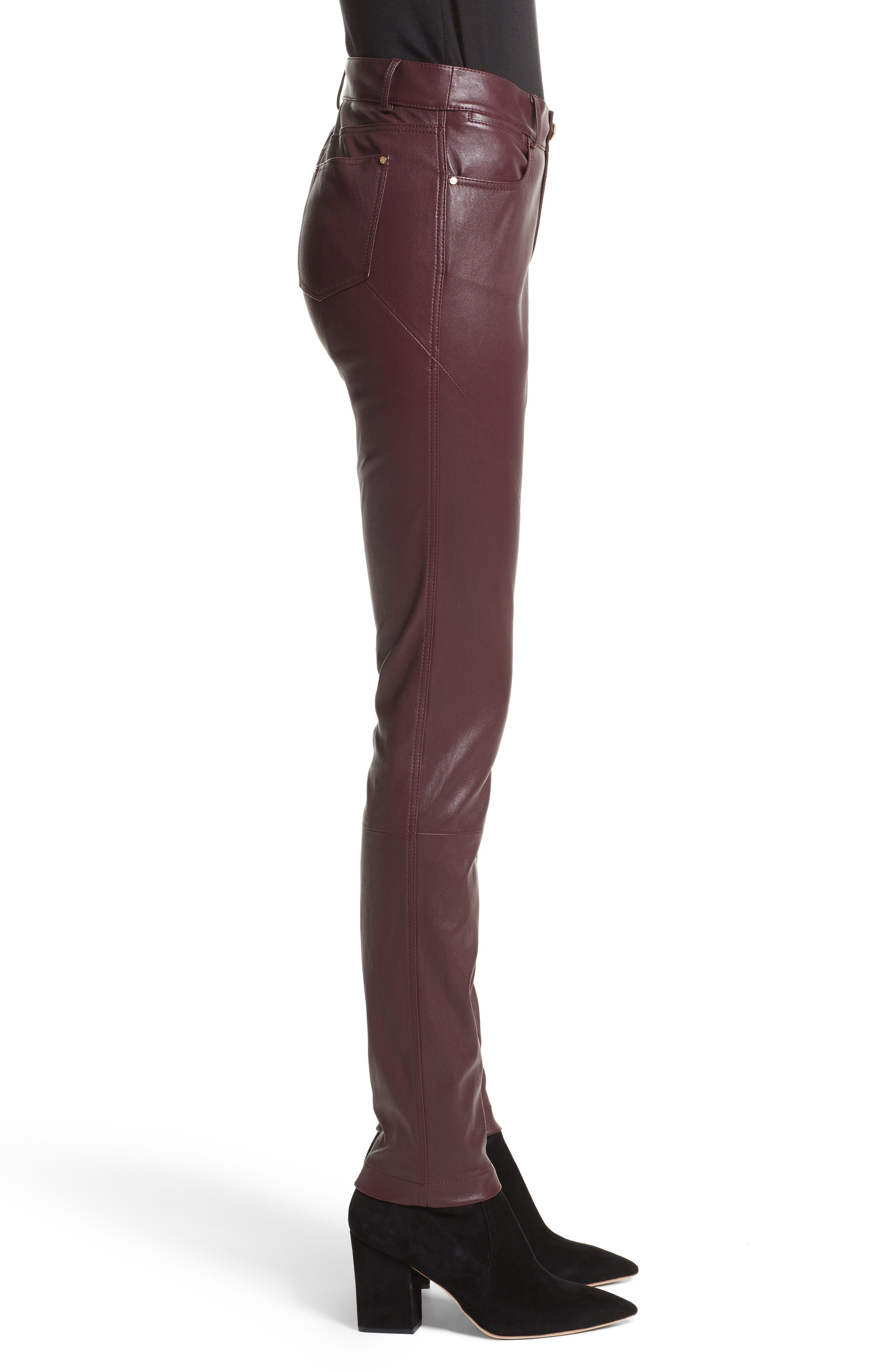 Mercer Nappa Leather Pants,                             Alternate thumbnail 3, color,                             Beet