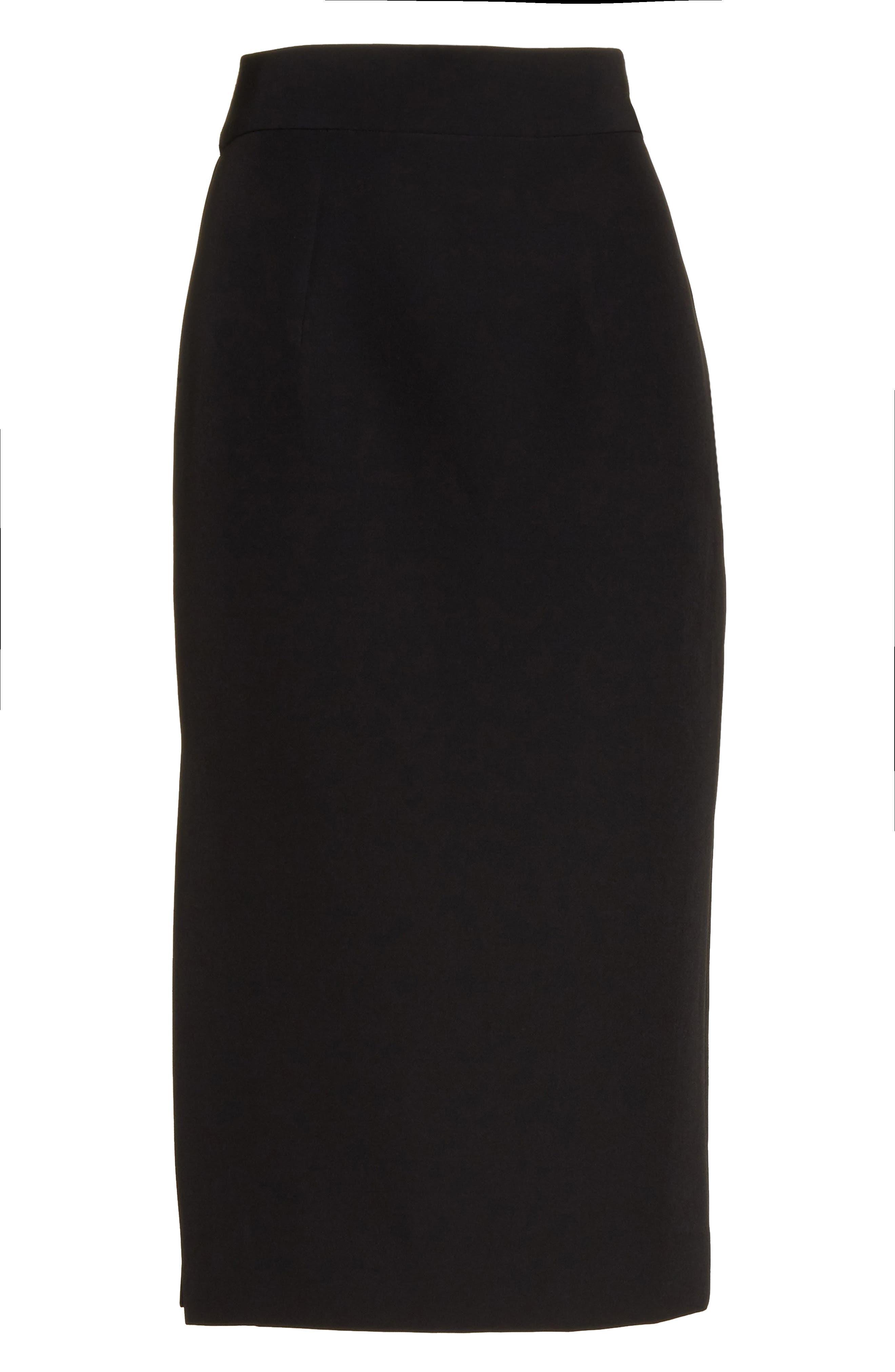 Italian Cady Side Slit Skirt,                             Alternate thumbnail 6, color,                             Black