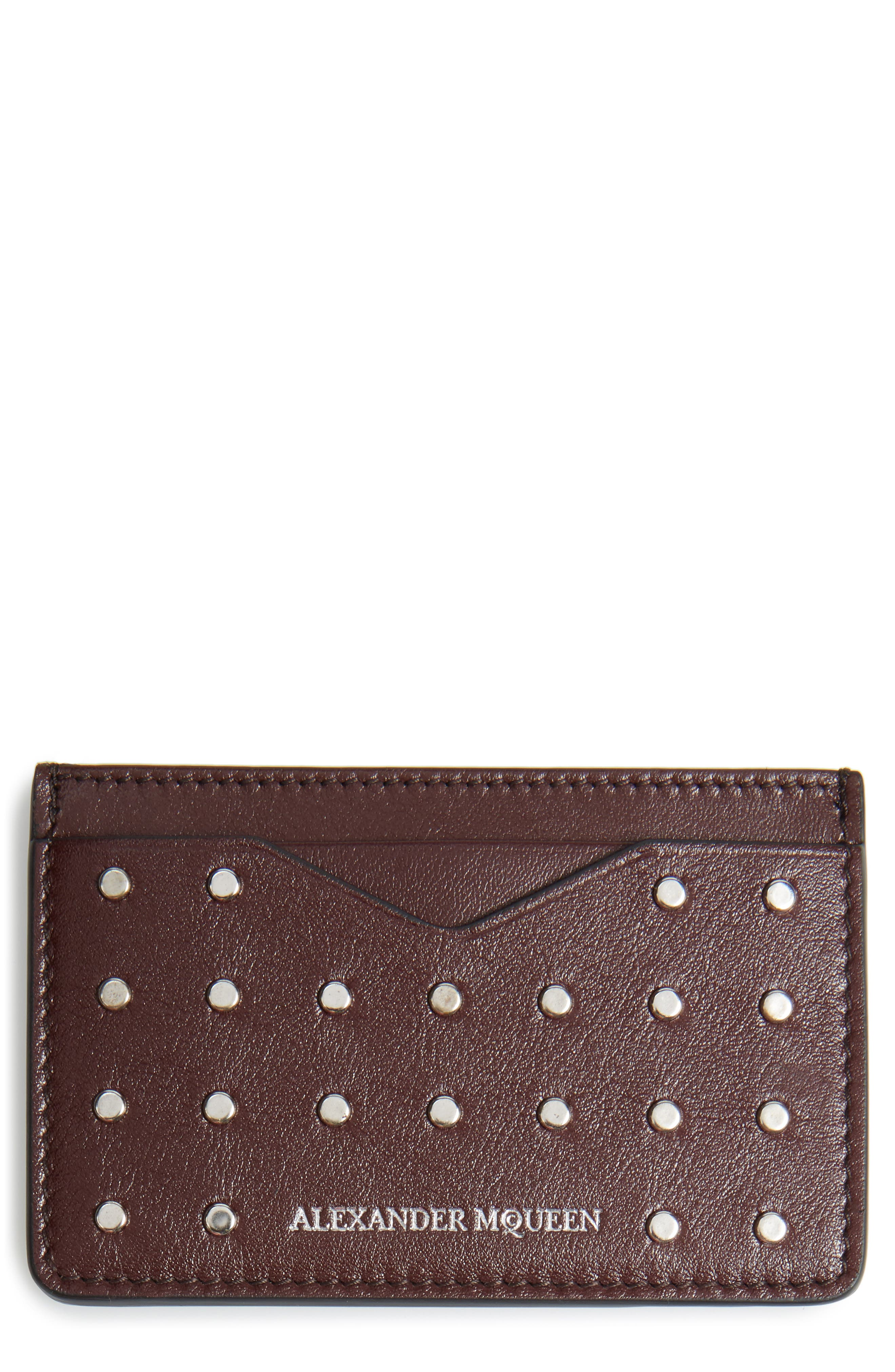 Studded Leather Card Case,                         Main,                         color, Oxblood