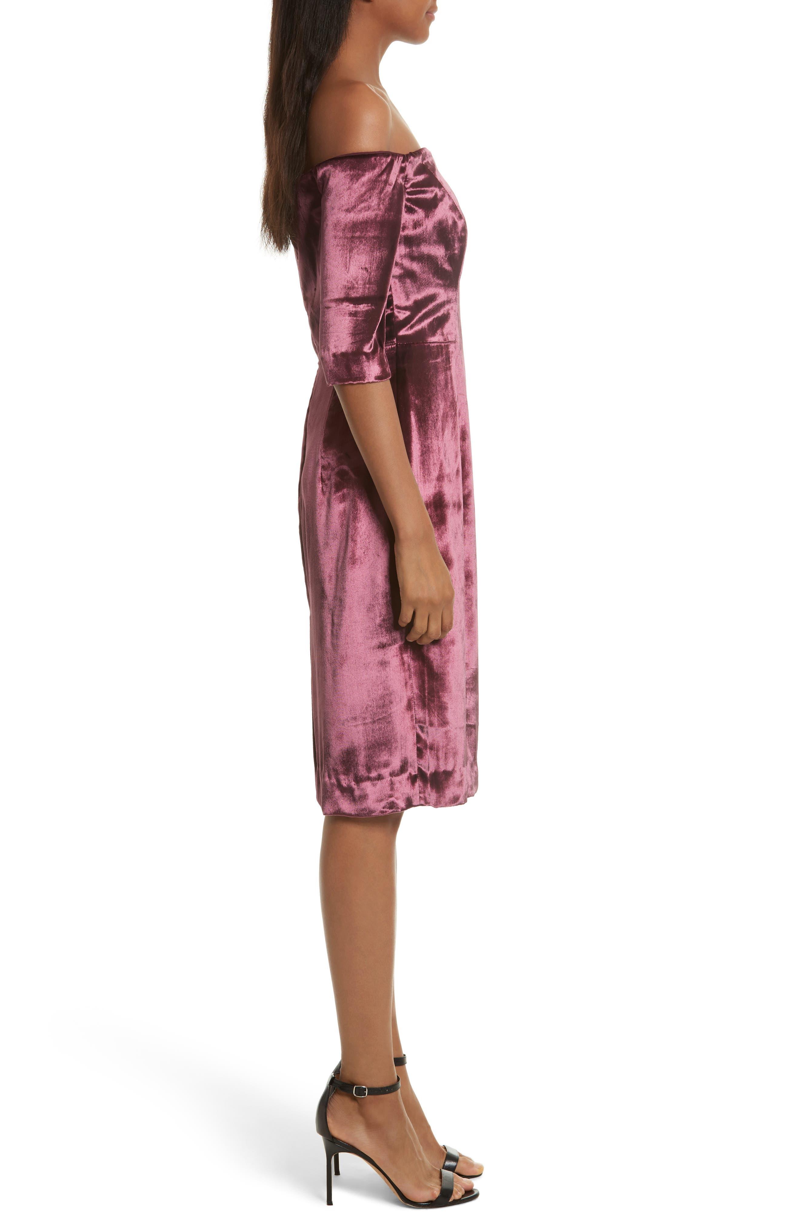 Panne Velvet Body-Con Off-the-Shoulder Dress,                             Alternate thumbnail 3, color,                             Burgundy