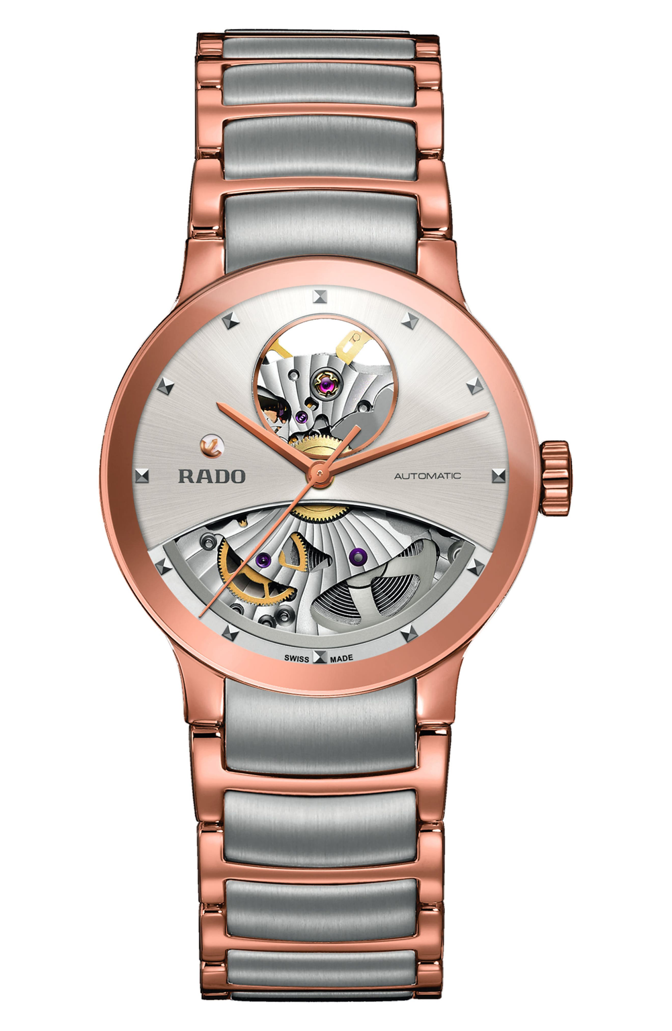 Centrix Automatic Open Heart Bracelet Watch, 33mm,                             Main thumbnail 1, color,                             Rose Gold/ Silver/ Rose Gold