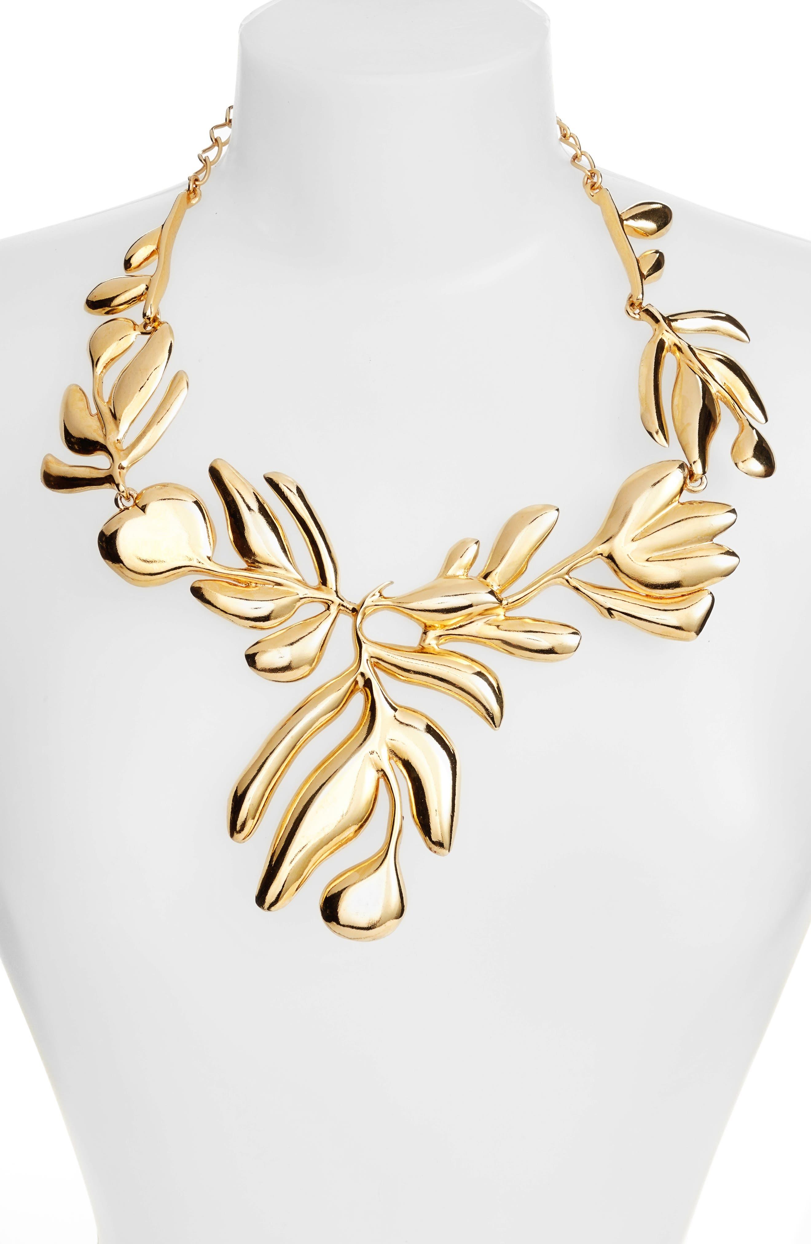 Graphic Botanic Collar Necklace,                             Alternate thumbnail 2, color,                             Gold