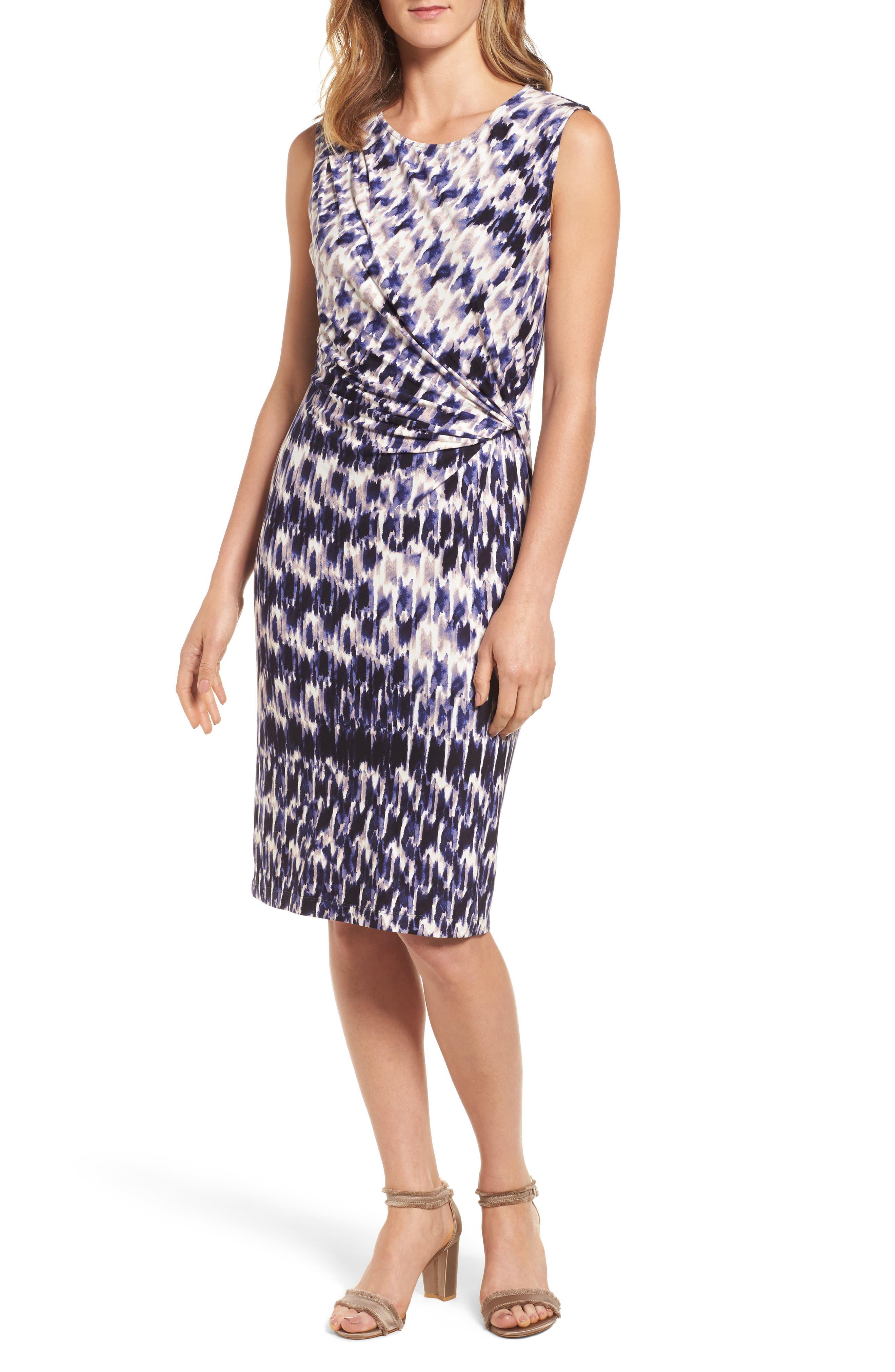 Lotus Side Twist Sheath Dress,                         Main,                         color, Multi