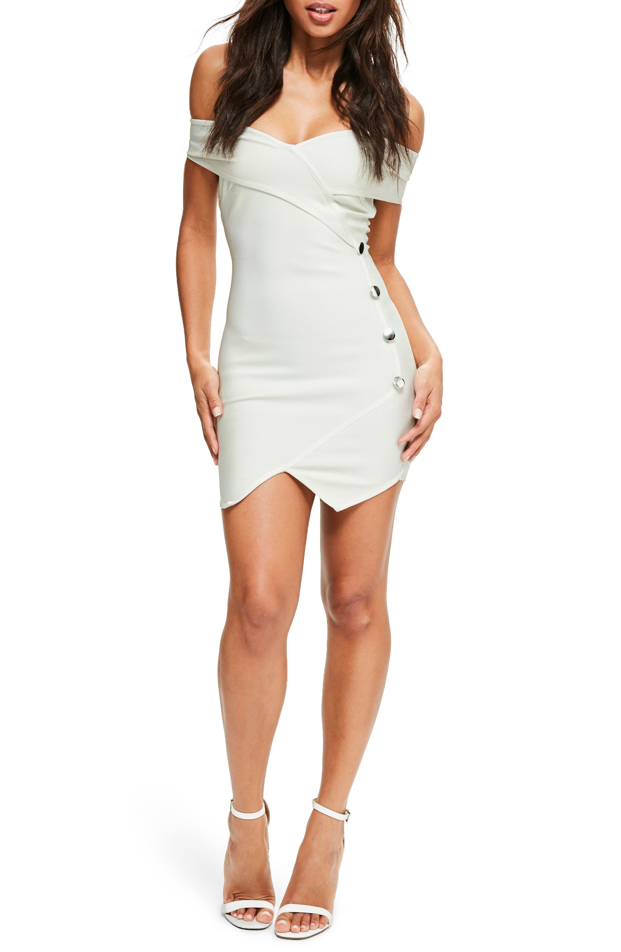 Sweetheart Off the Shoulder Minidress,                         Main,                         color, White