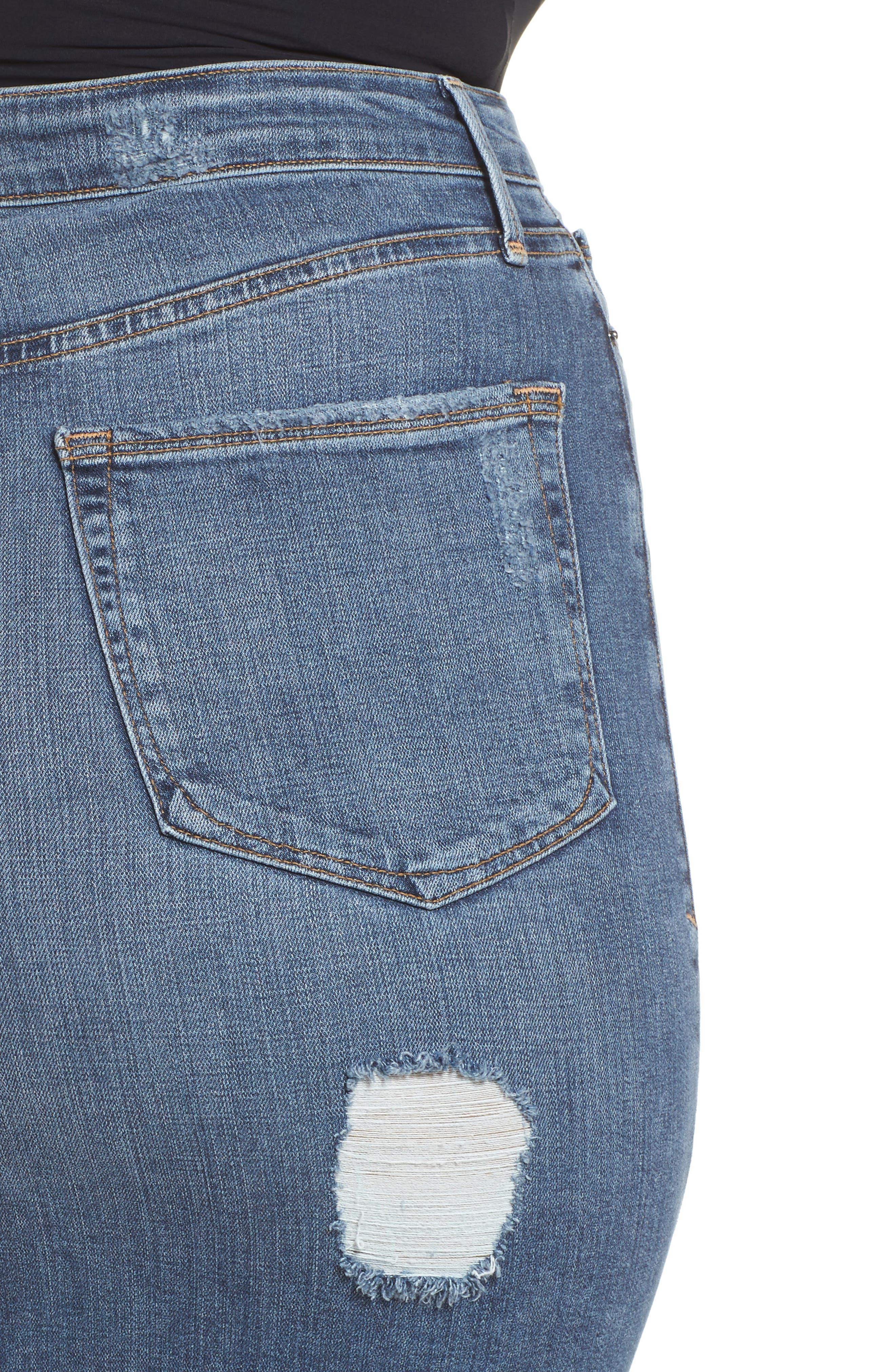 High Waist Denim Pencil Skirt,                             Alternate thumbnail 11, color,                             Blue 083