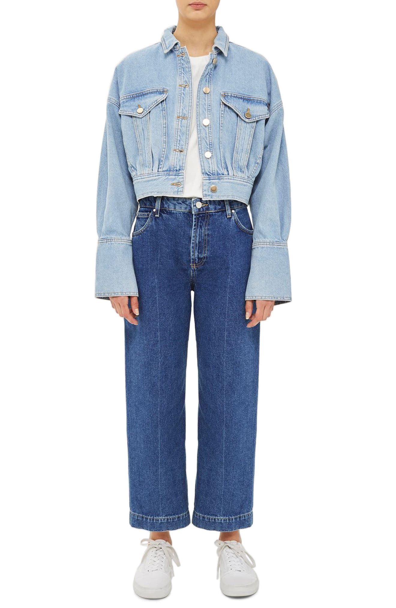 Crop Denim Jacket,                         Main,                         color, Blue